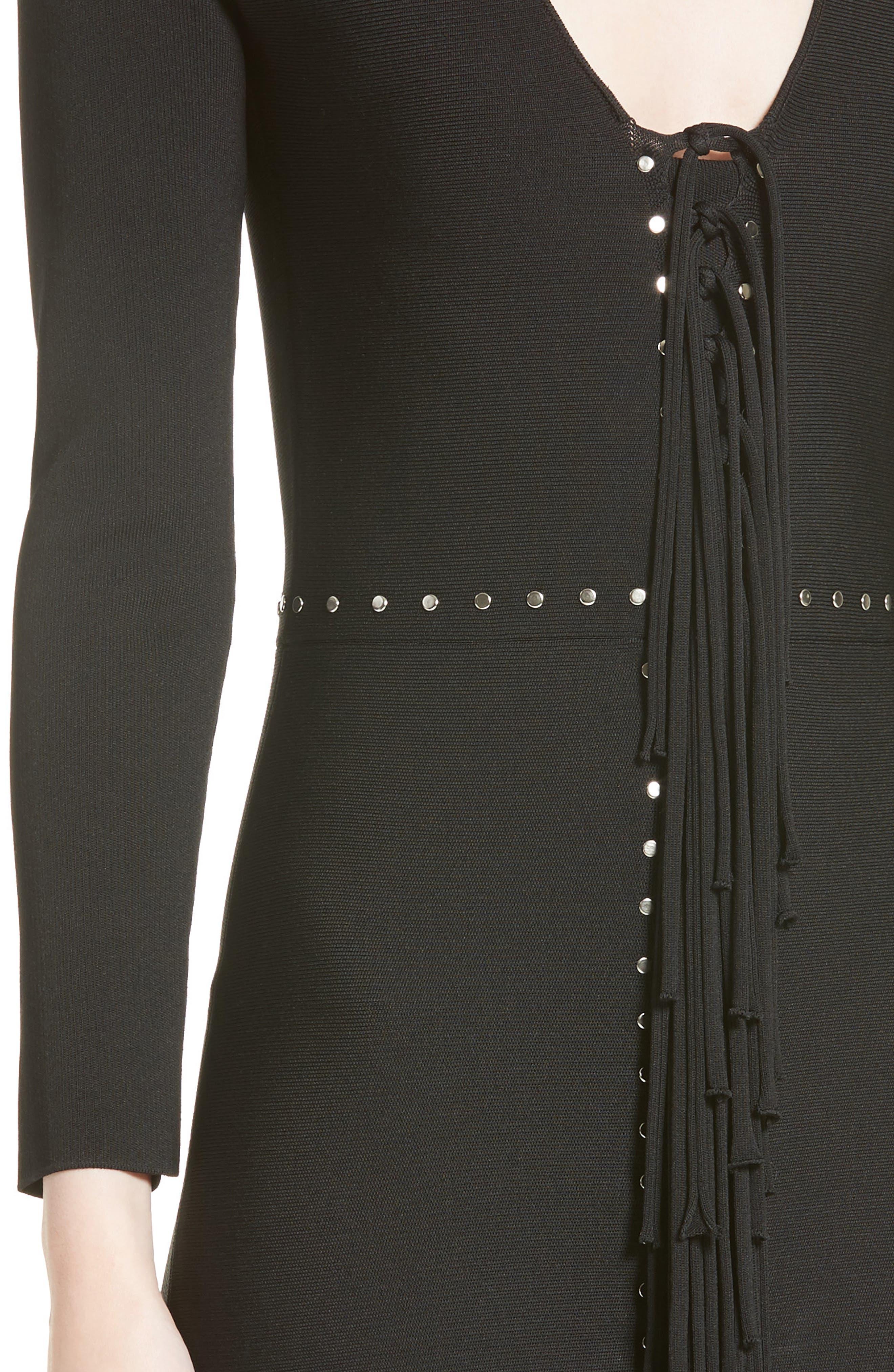 Alternate Image 6  - Alexander Wang Knotted Fringe Knit Dress