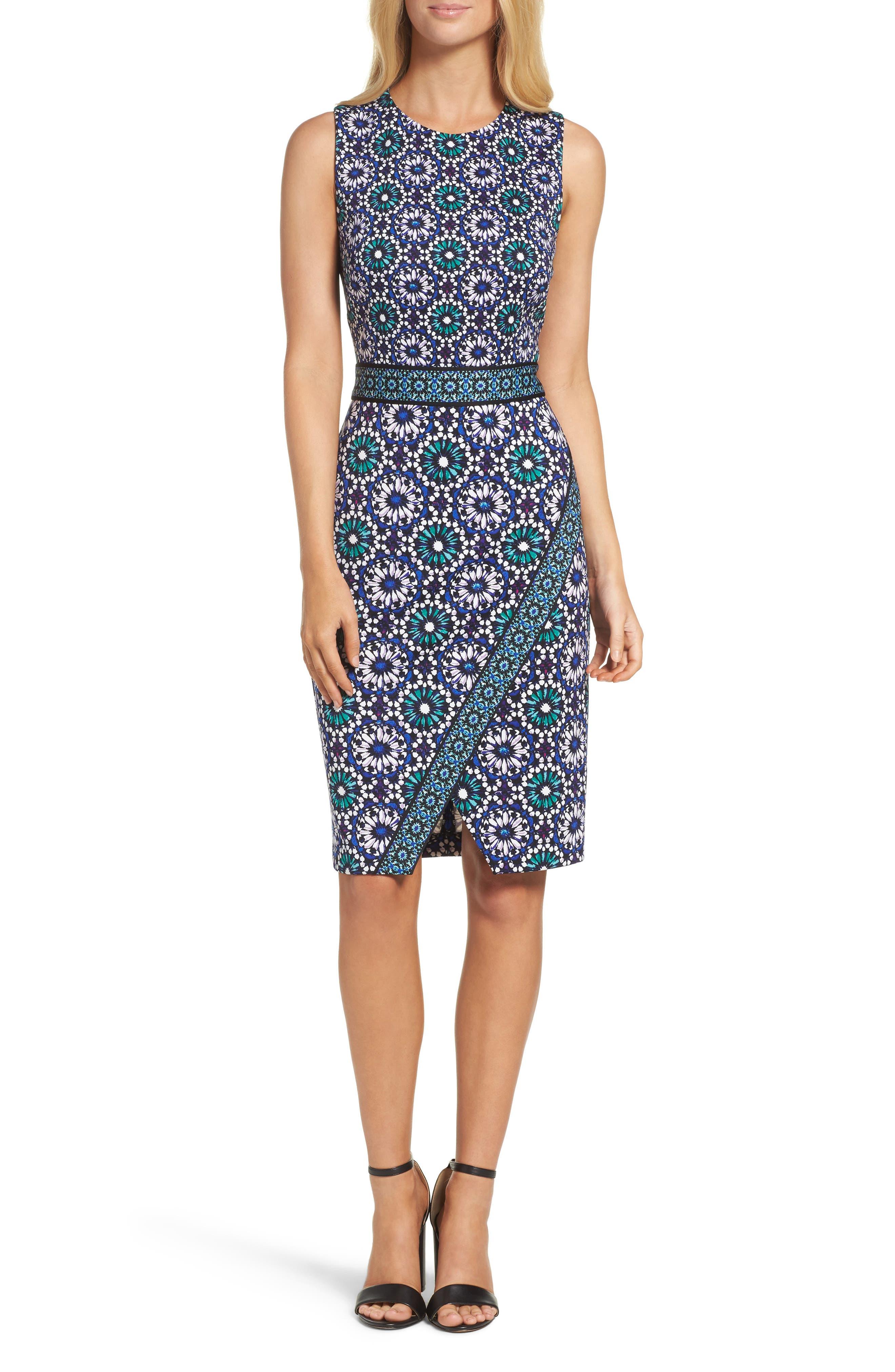 Maggy London Jewel Tile Jersey Sheath Dress