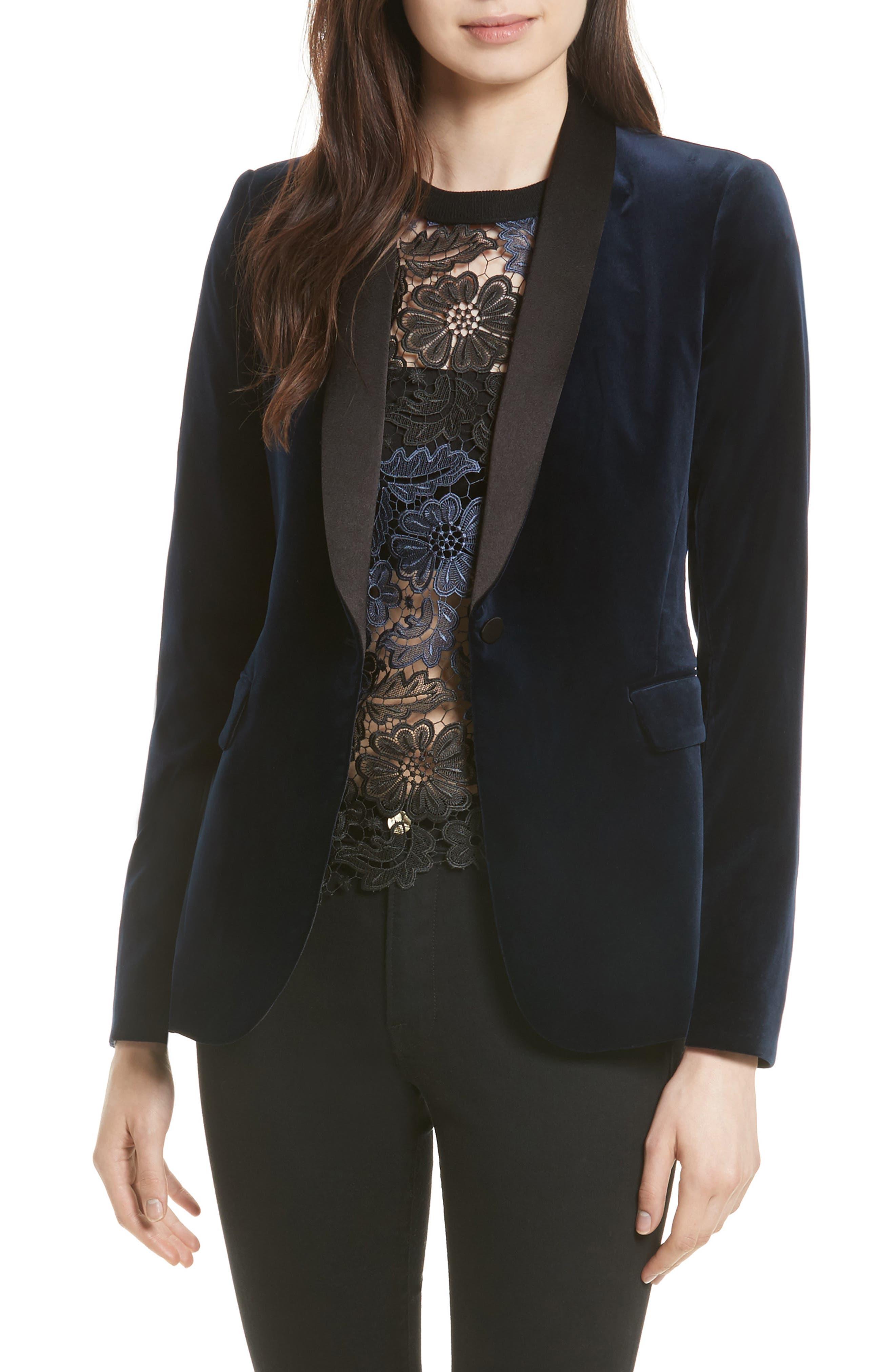 Alice + Olivia Macey Velvet Tuxedo Jacket