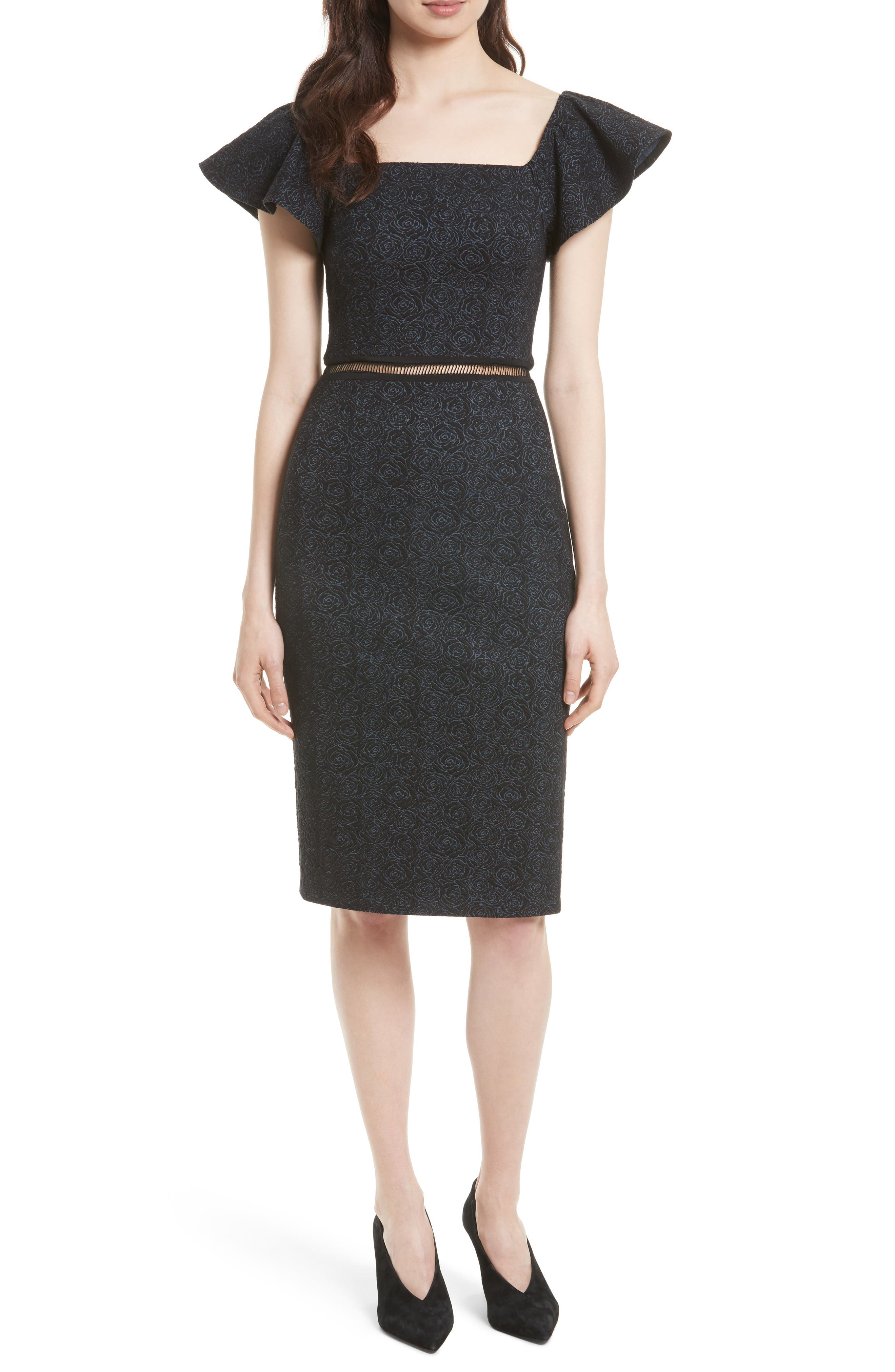 Rebecca Taylor Jacquard Stretch Knit Sheath