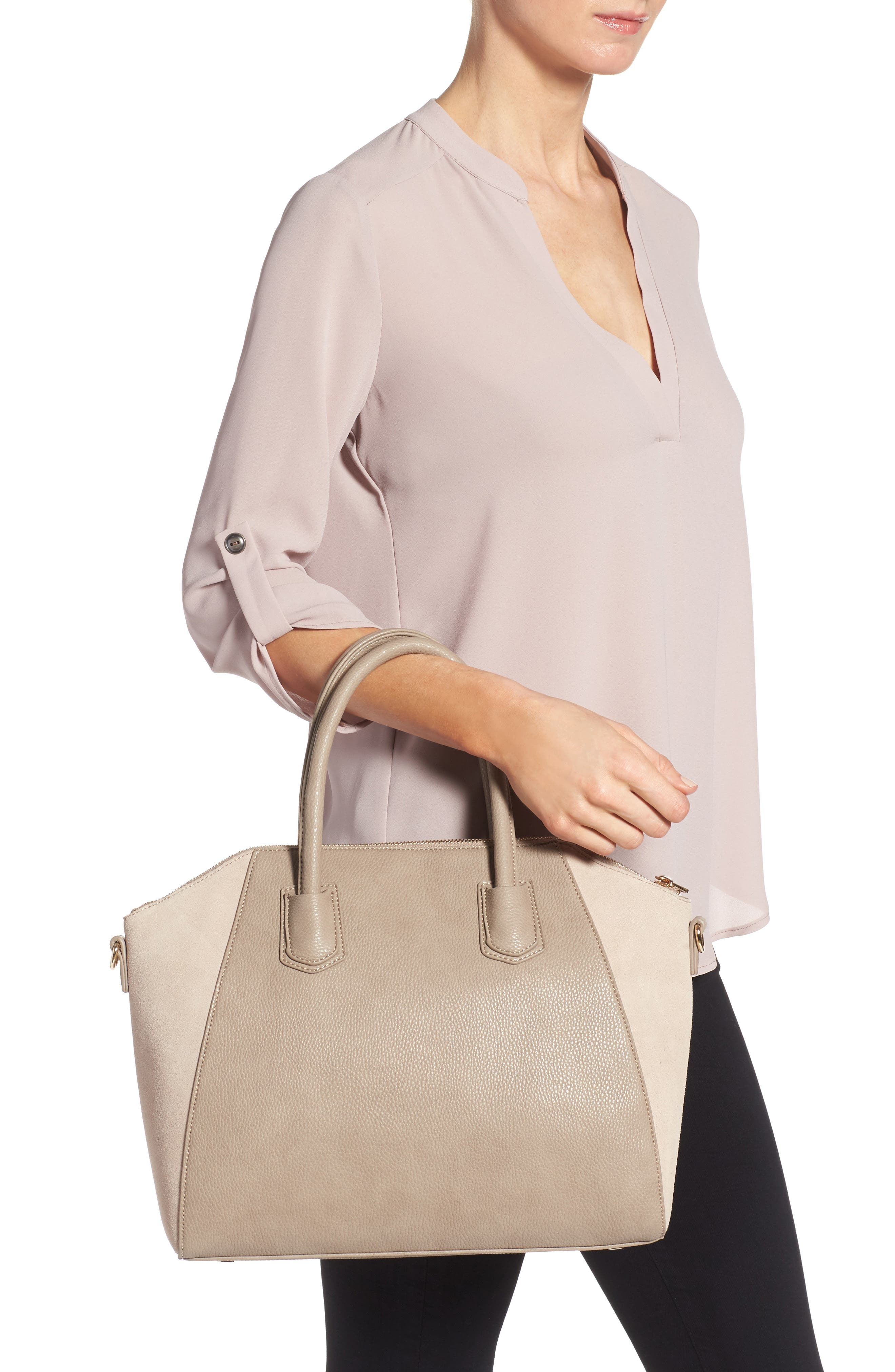 Alternate Image 2  - Sole Society Mikayla Faux Leather & Suede Satchel