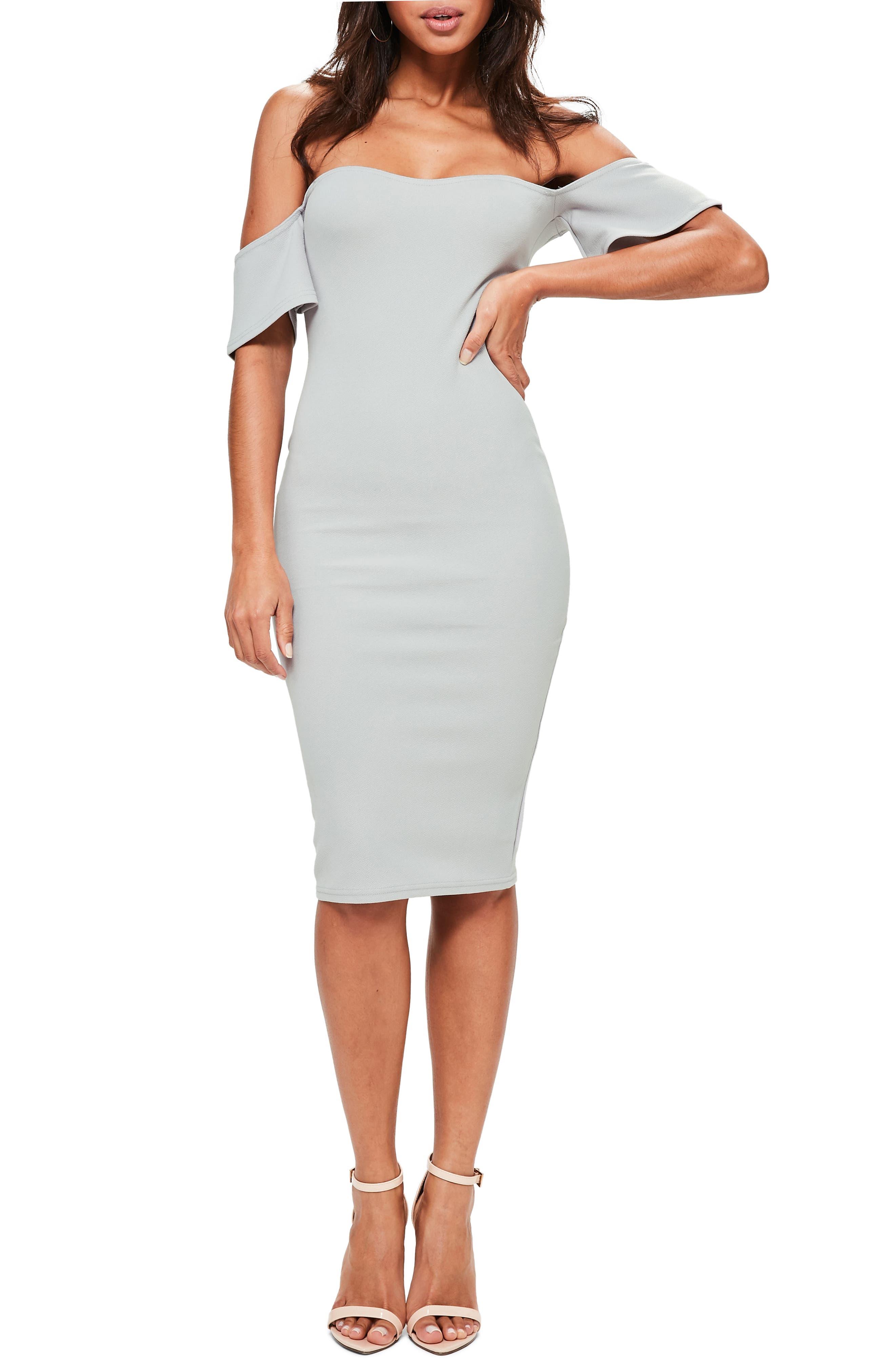 Missguided Bardot Stretch Crepe Off The Shoulder Dress