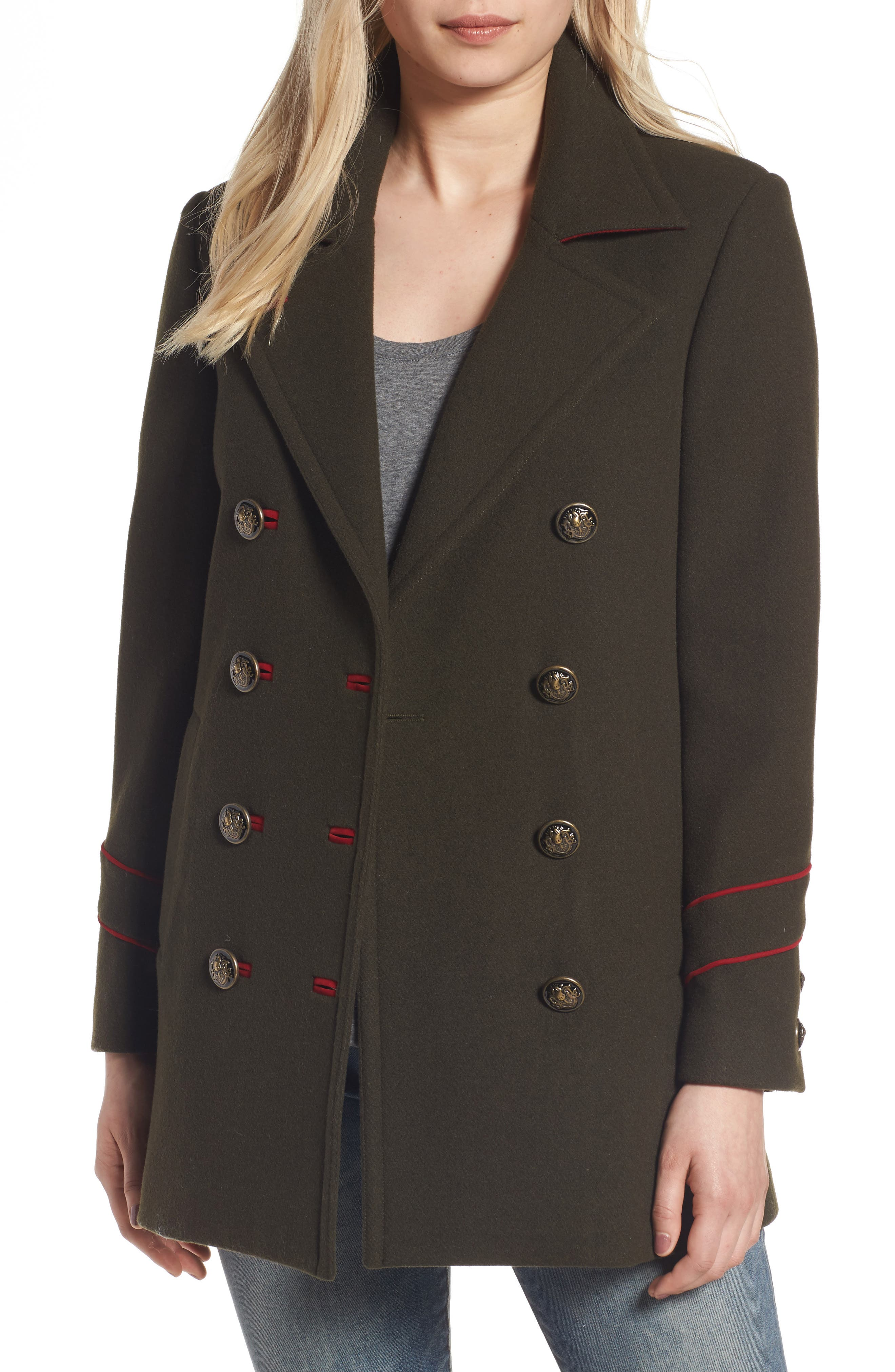 BCBGeneration Wool Blend Military Peacoat