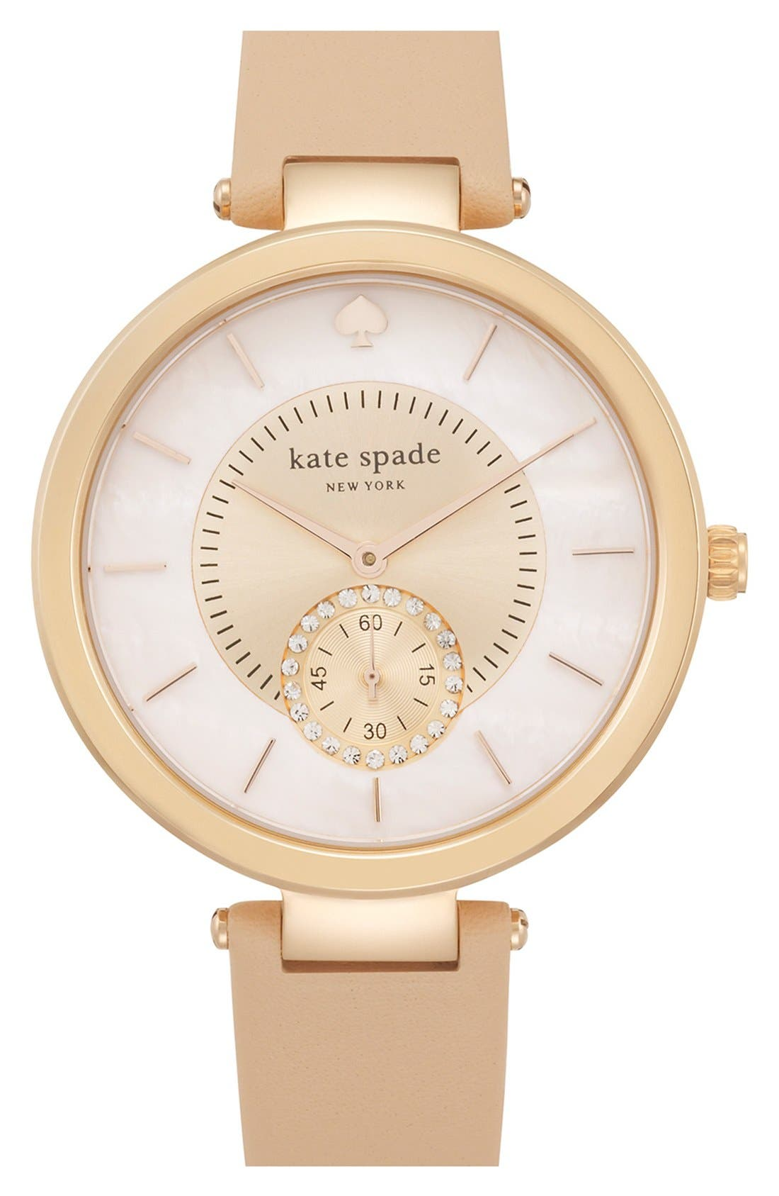 Alternate Image 1 Selected - kate spade new york 'perry' crystal accent leather strap watch, 38mm