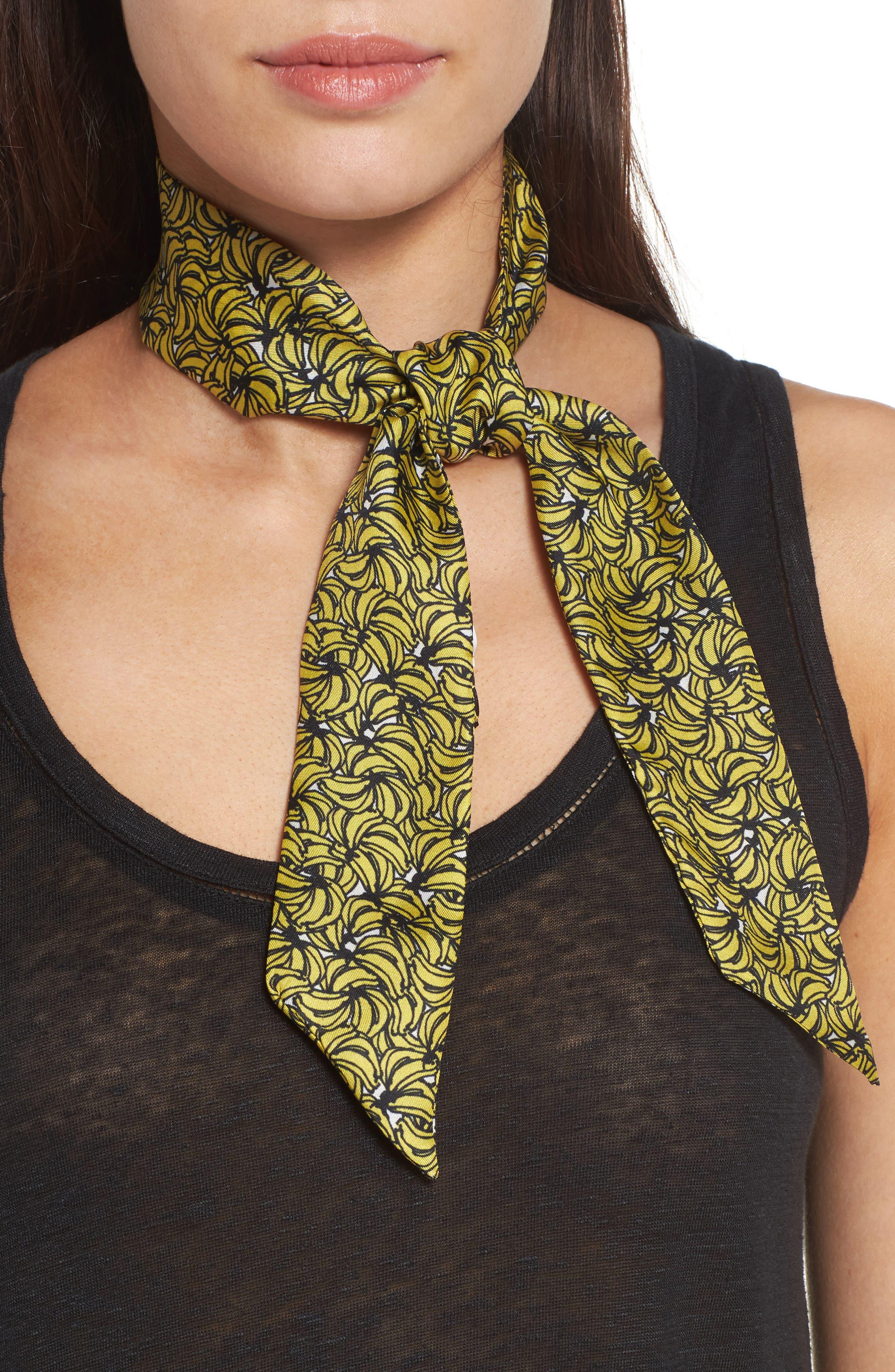 Echo Plantains Skinny Silk Scarf