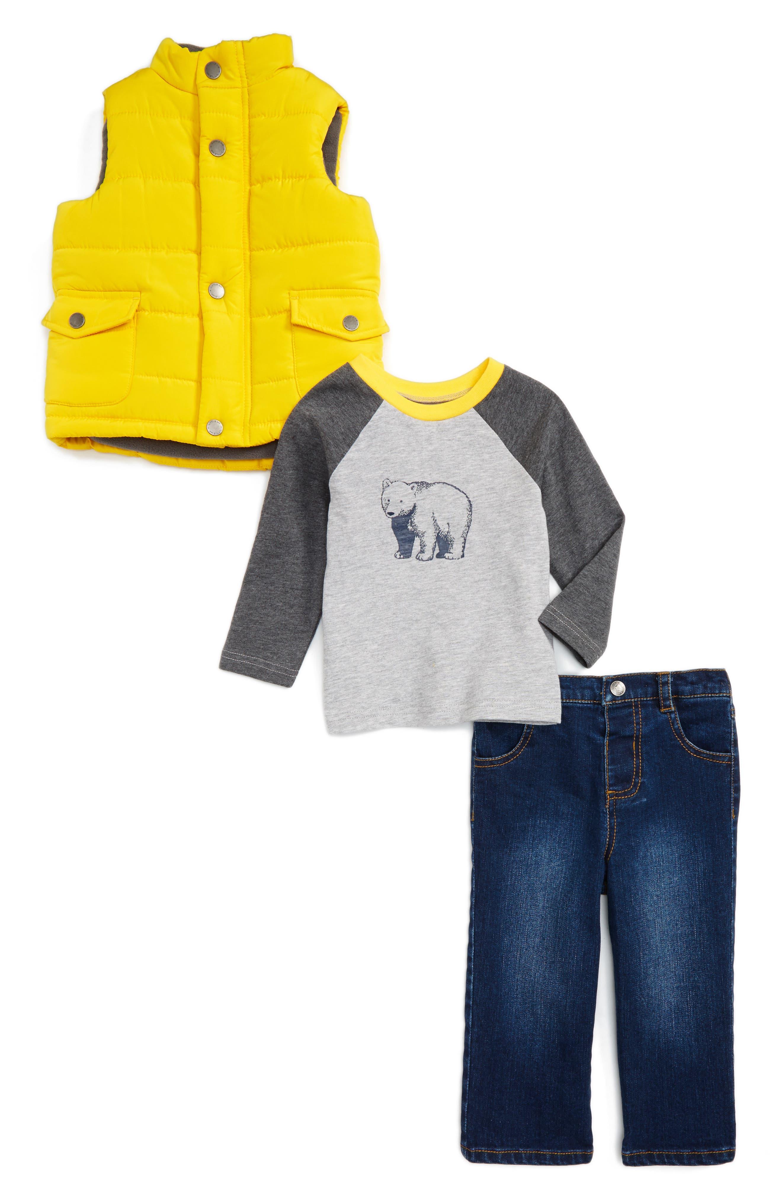 Little Me Yellow Puff Vest, T-Shirt & Jeans Set (Baby Boys)