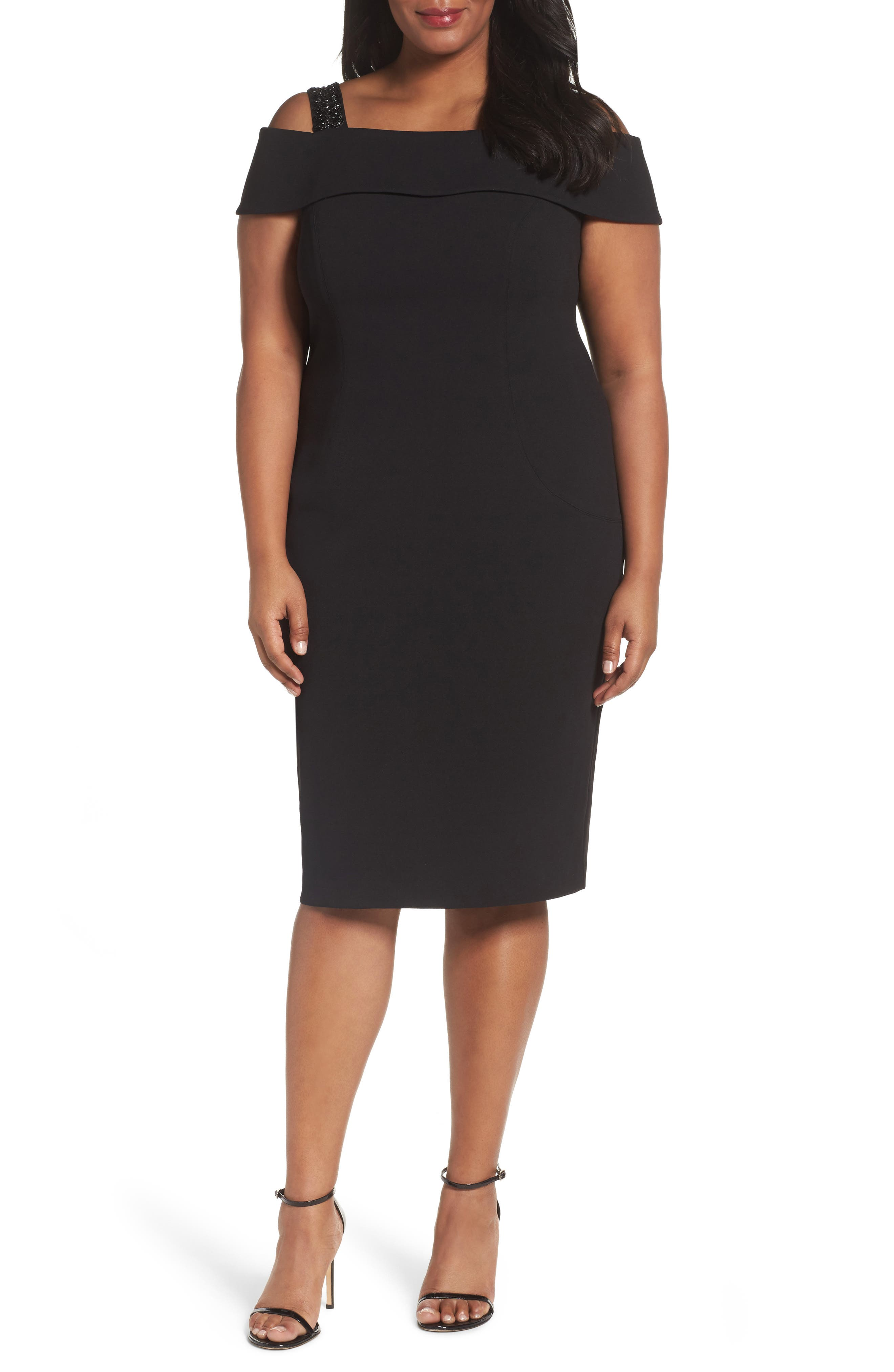 Adrianna Papell Cold Shoulder Sheath Dress (Plus Size)