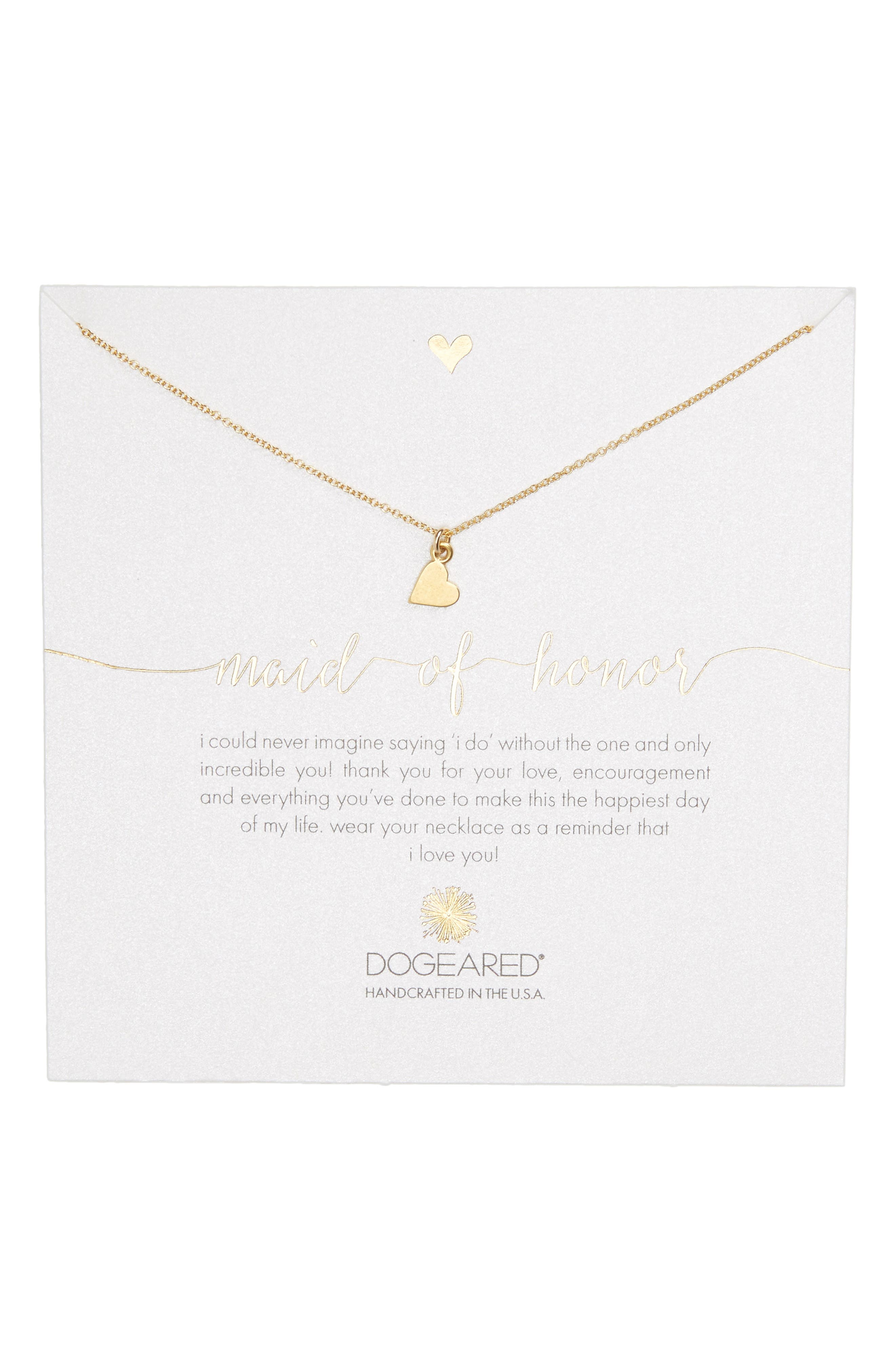 Main Image - Dogeared Maid of Honor Heart Pendant Necklace