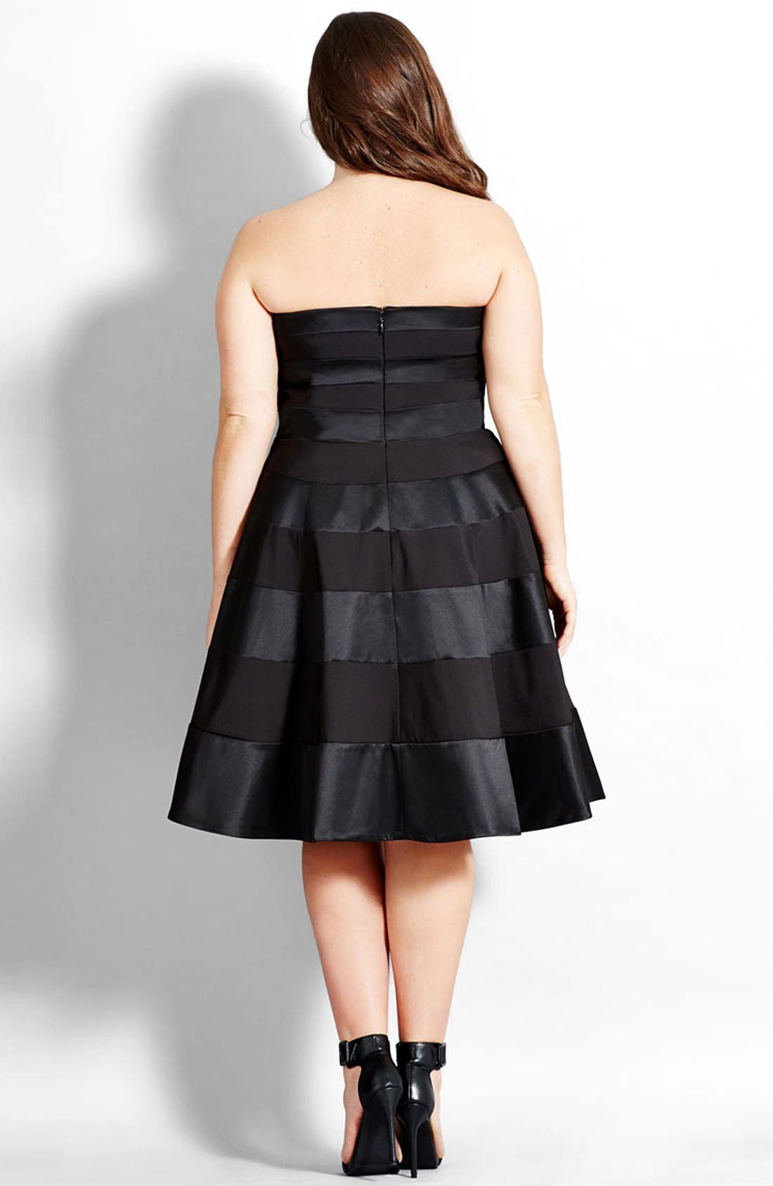 Alternate Image 2  - City Chic 'Miss Shady' Stripe Strapless Fit & Flare Party Dress (Plus Size)