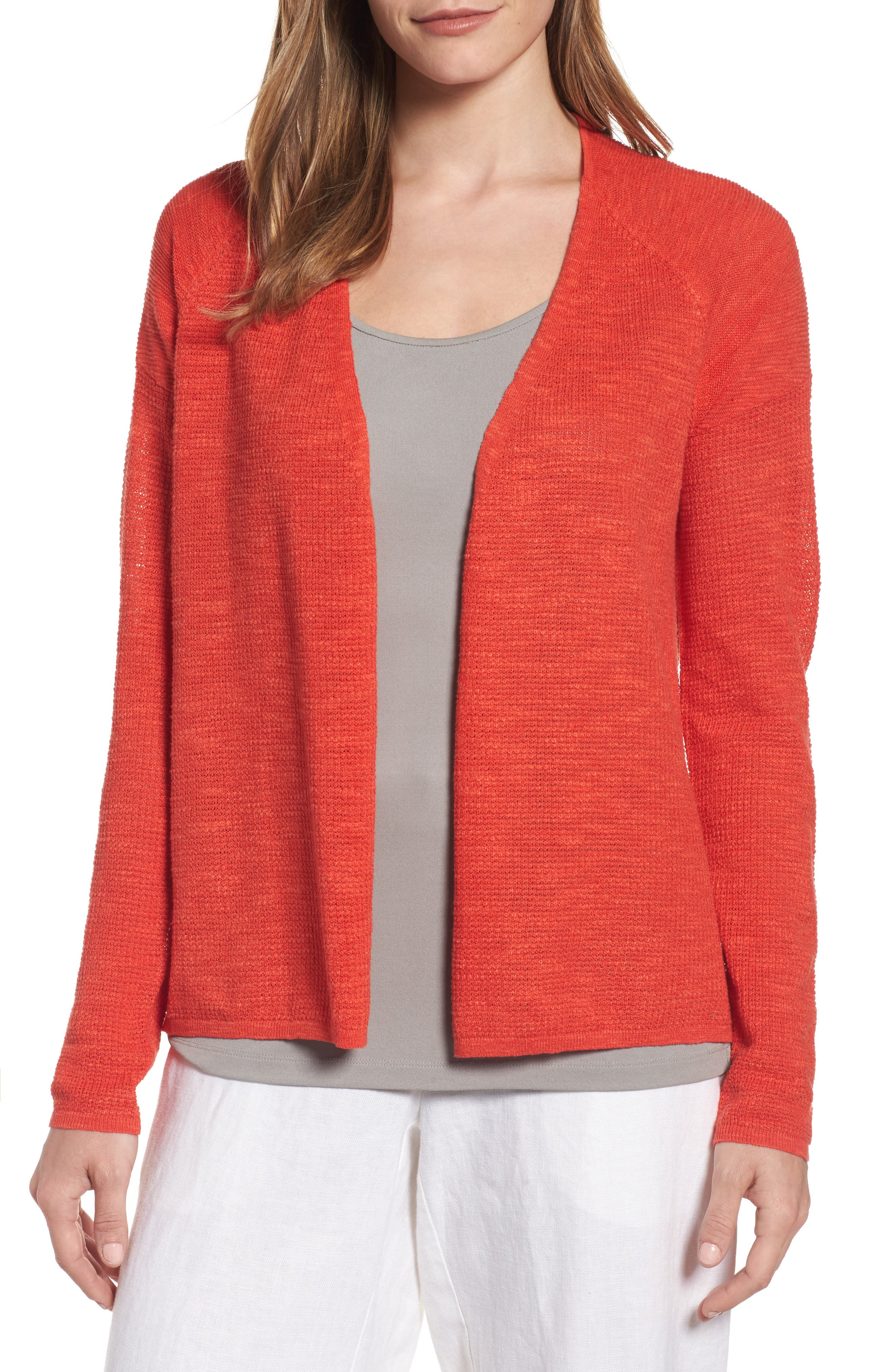 Eileen Fisher V-Neck Organic Linen & Cotton Cardigan