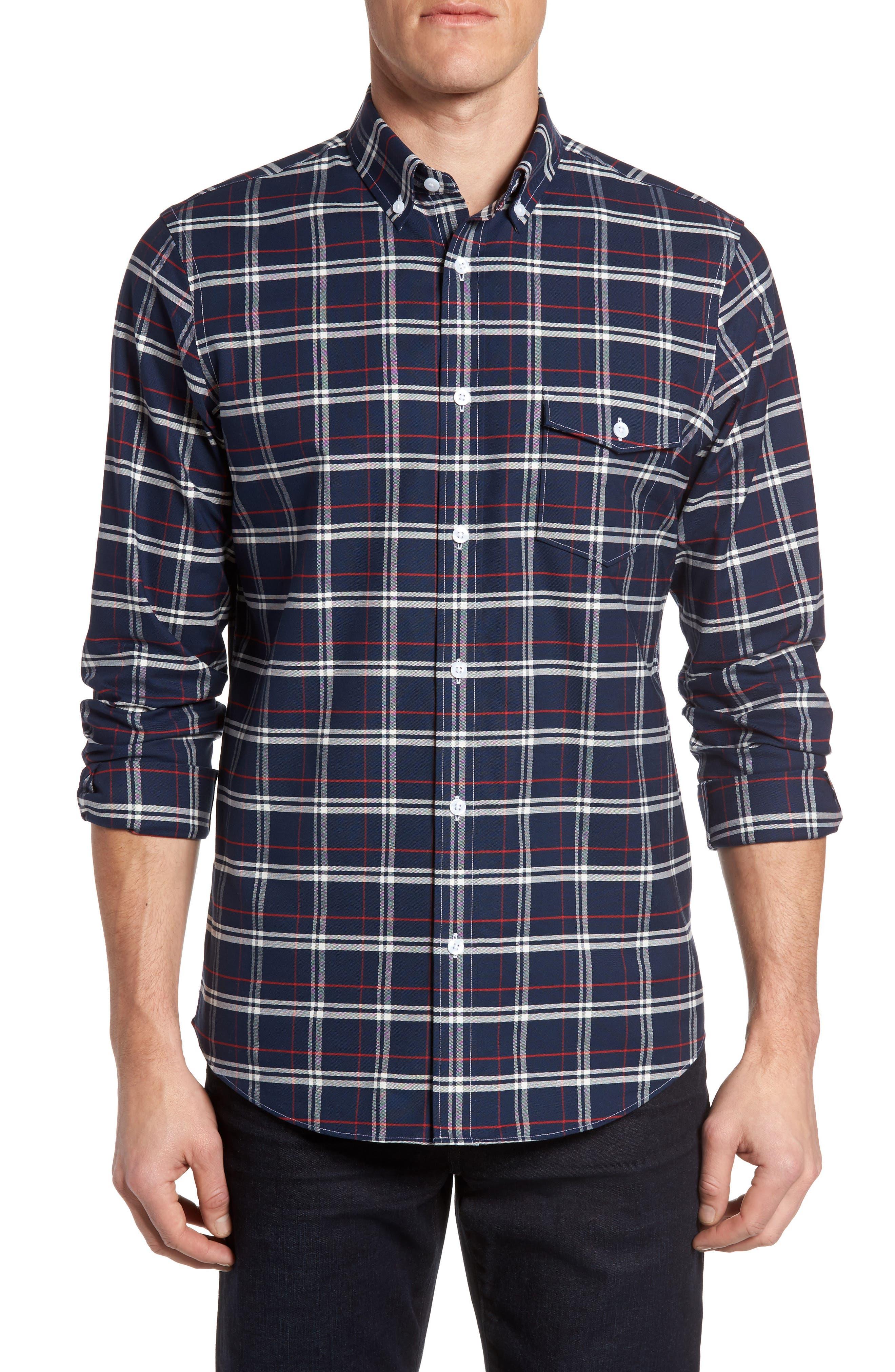 Nordstrom Men's Shop Regular Fit Plaid Non-Iron Sport Shirt (Regular & Tall)