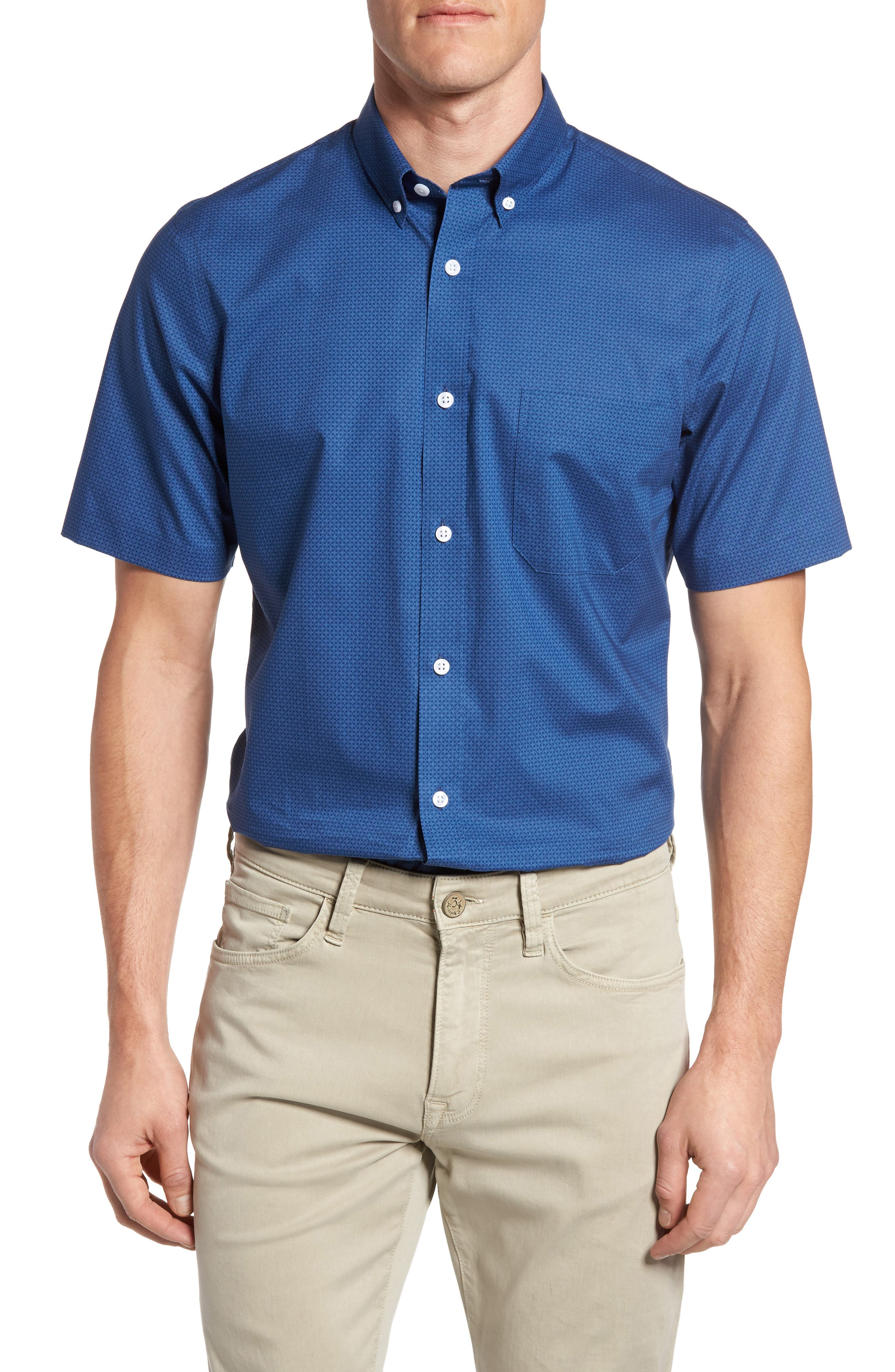Nordstrom Men's Shop Regular Fit Non-Iron Print Sport Shirt (Big)