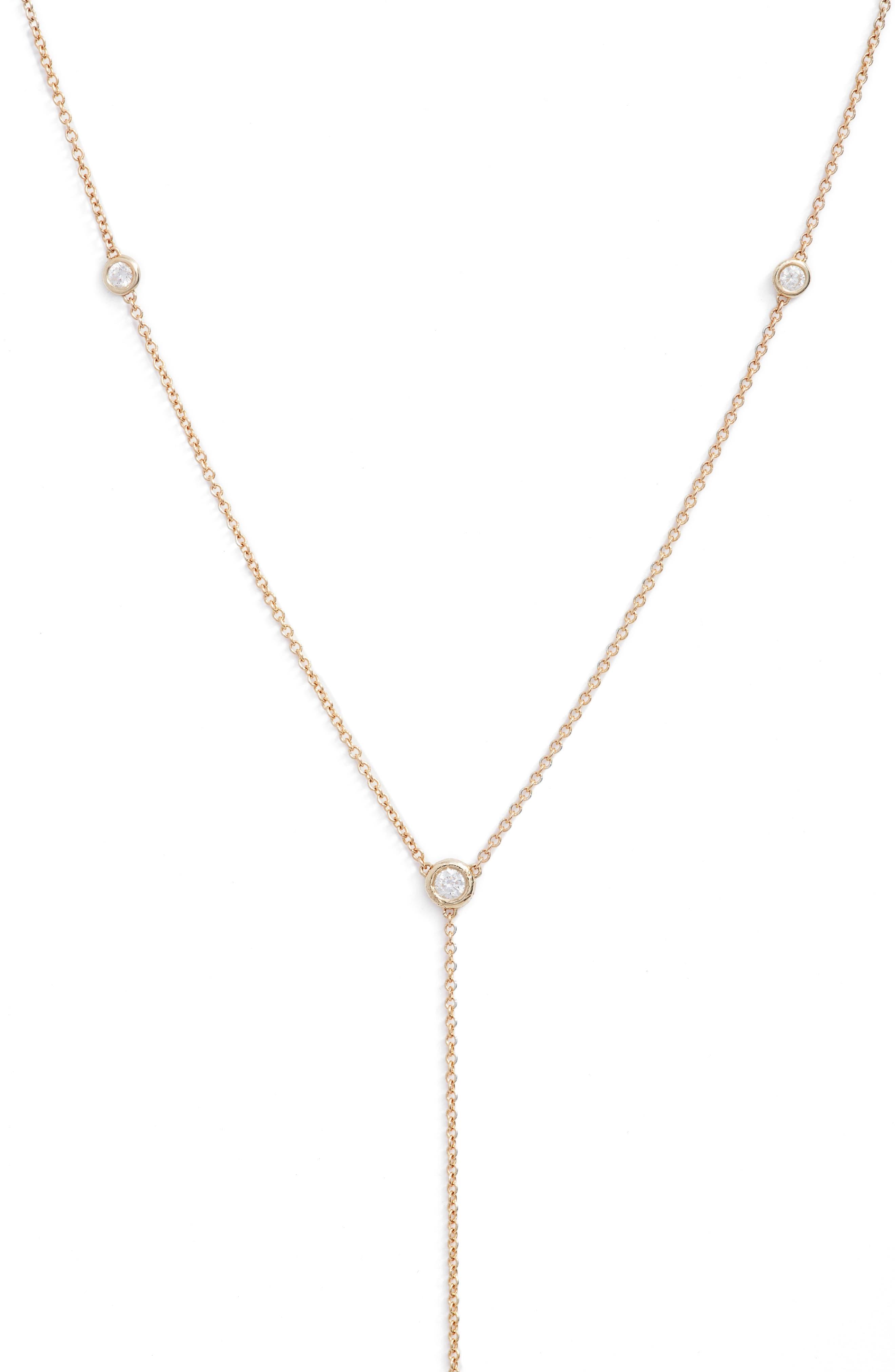 Zoë Chicco Scattered Diamond Bezel Y-Necklace
