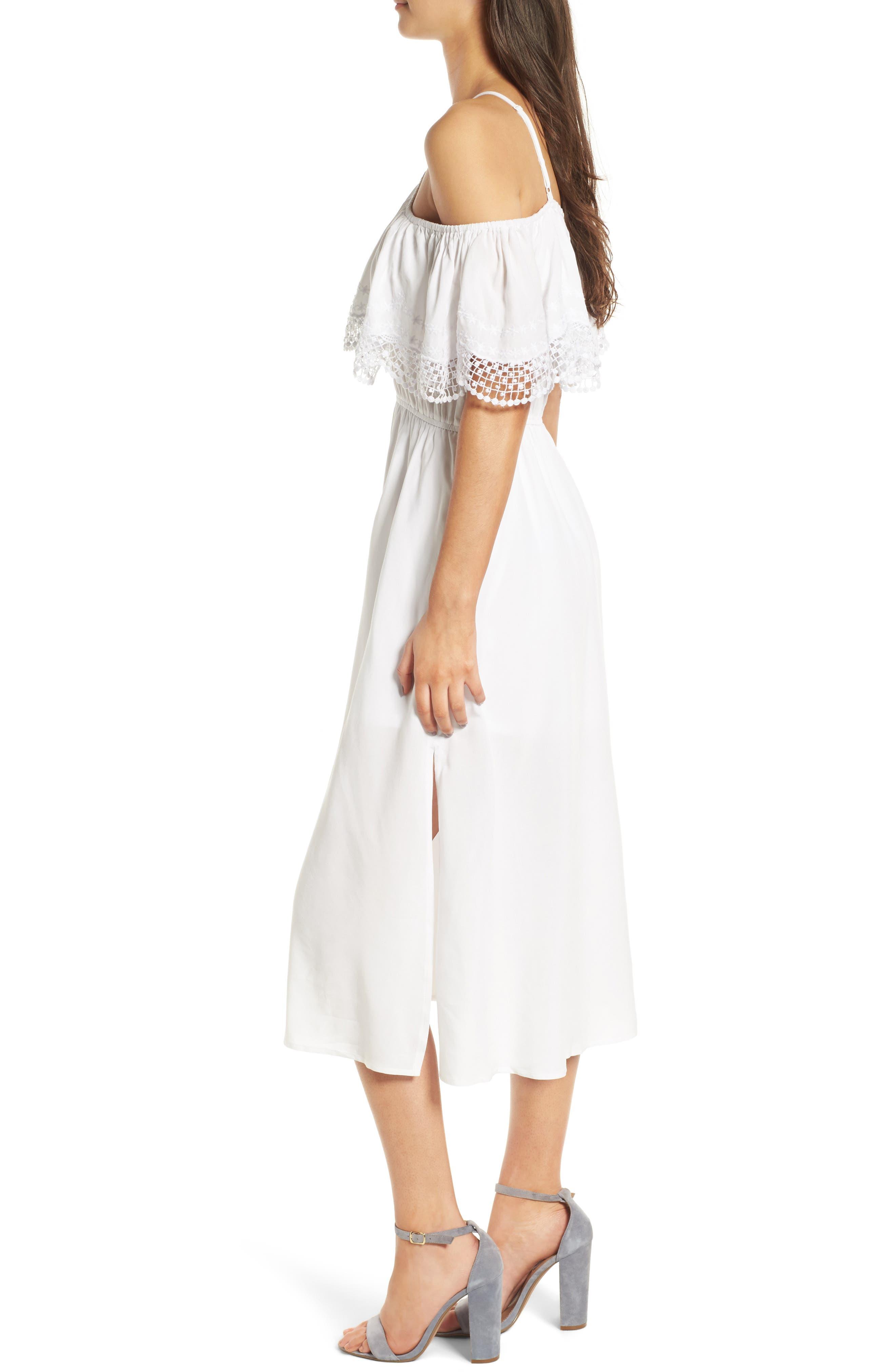 Alternate Image 3  - Love, Fire Lace Trim Cold Shoulder Dress