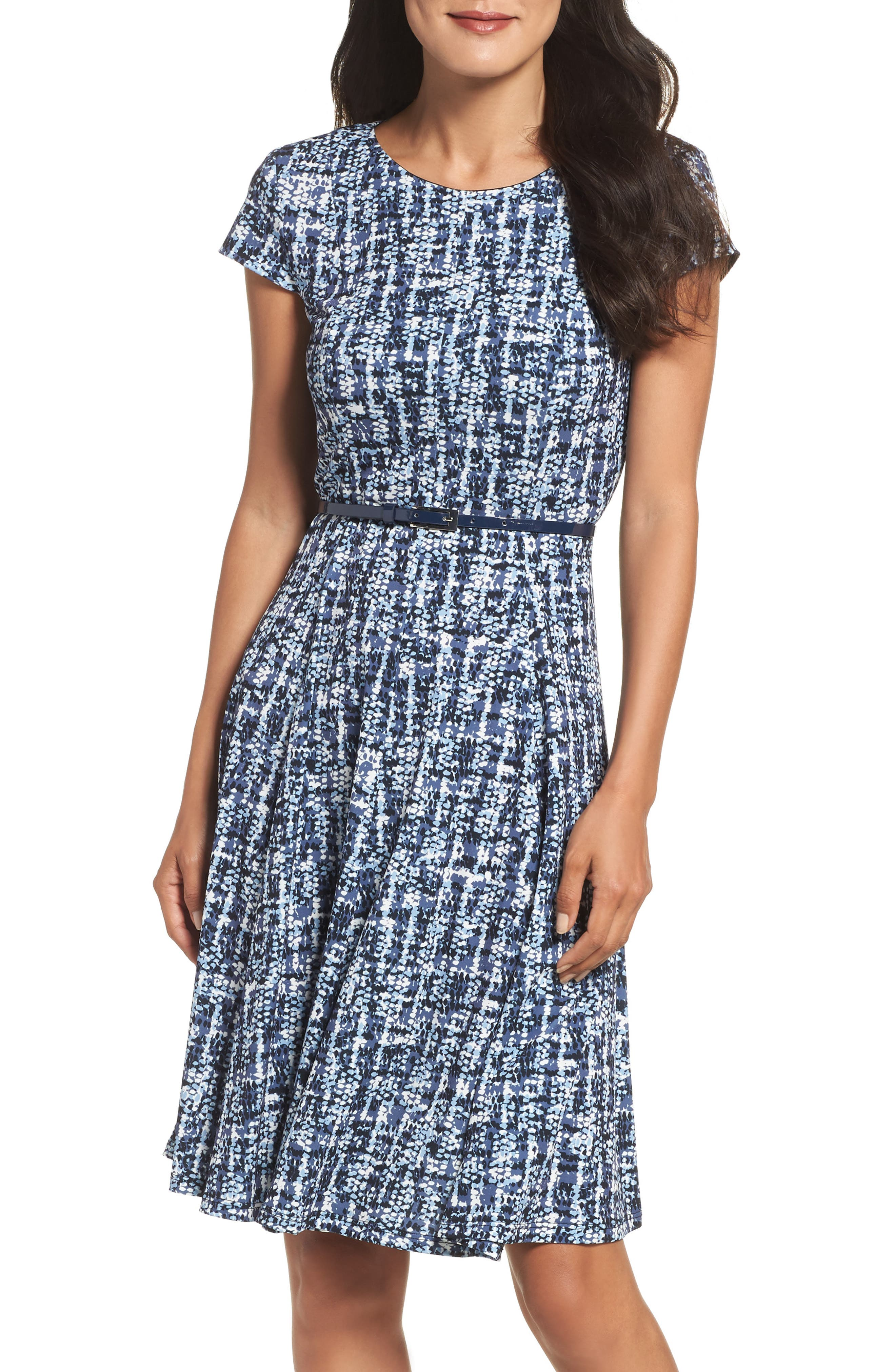 Eliza J Belted Fit & Flare Dress (Regular & Petite)
