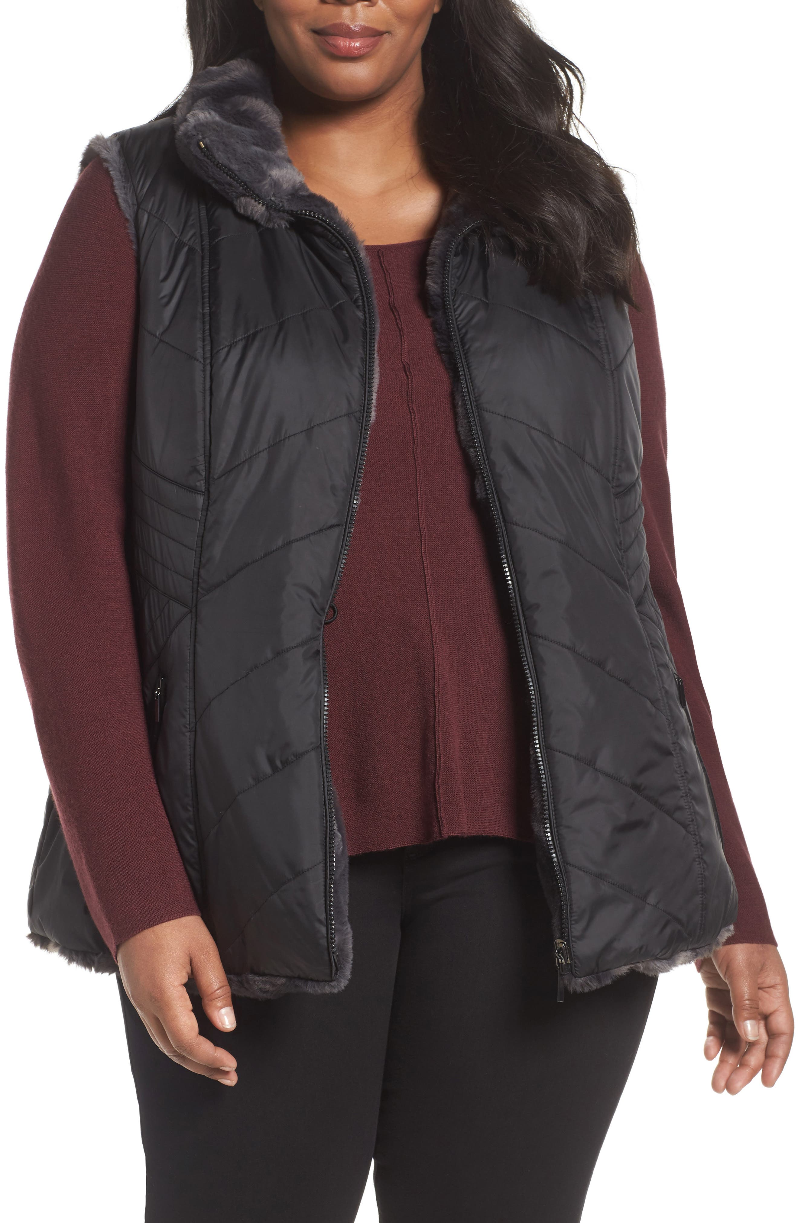 Gallery Reversible Faux Fur Vest (Plus Size)