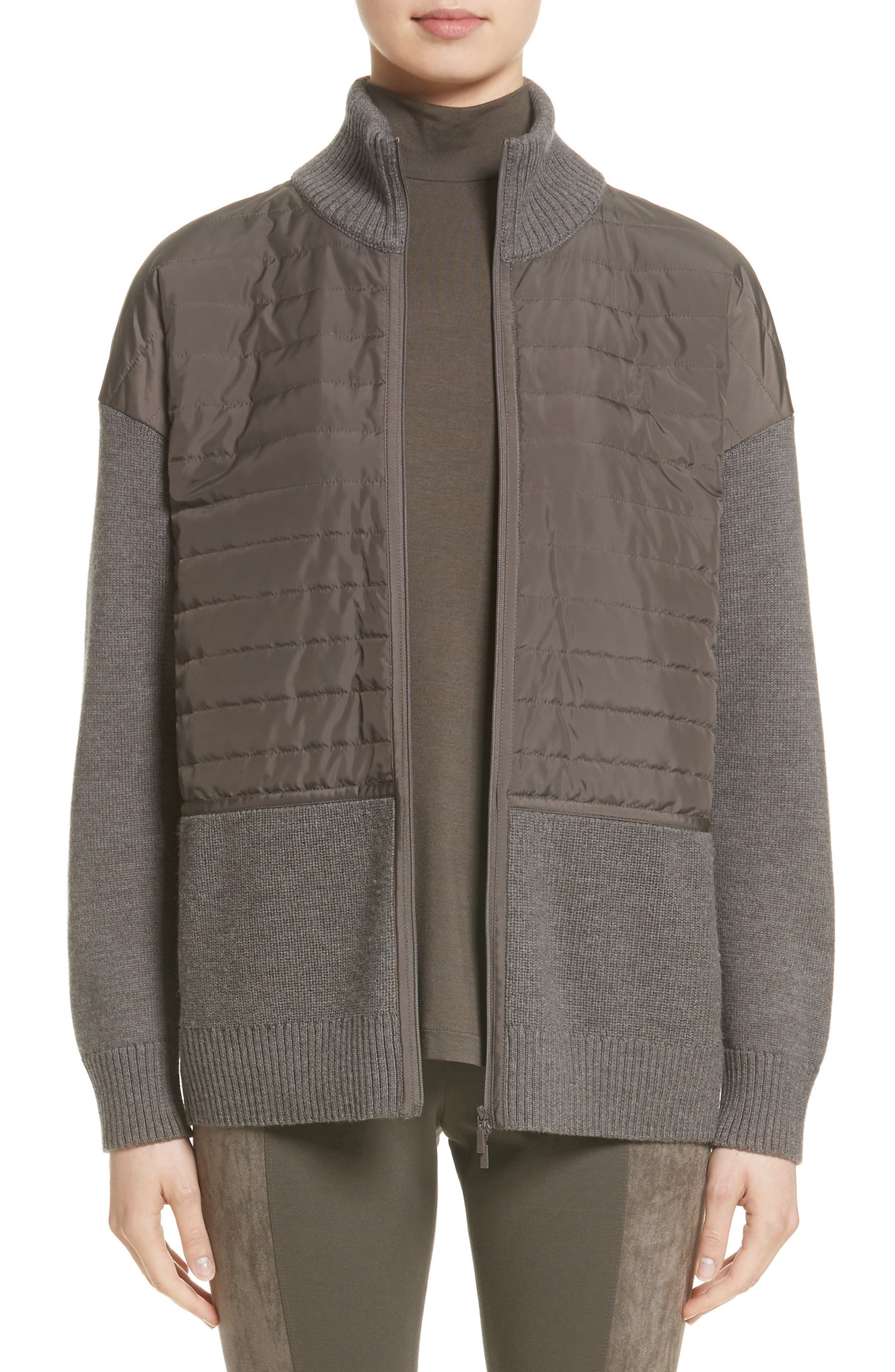 Lafayette 148 New York Quilted Zip Front Cardigan (Nordstrom Exclusive)