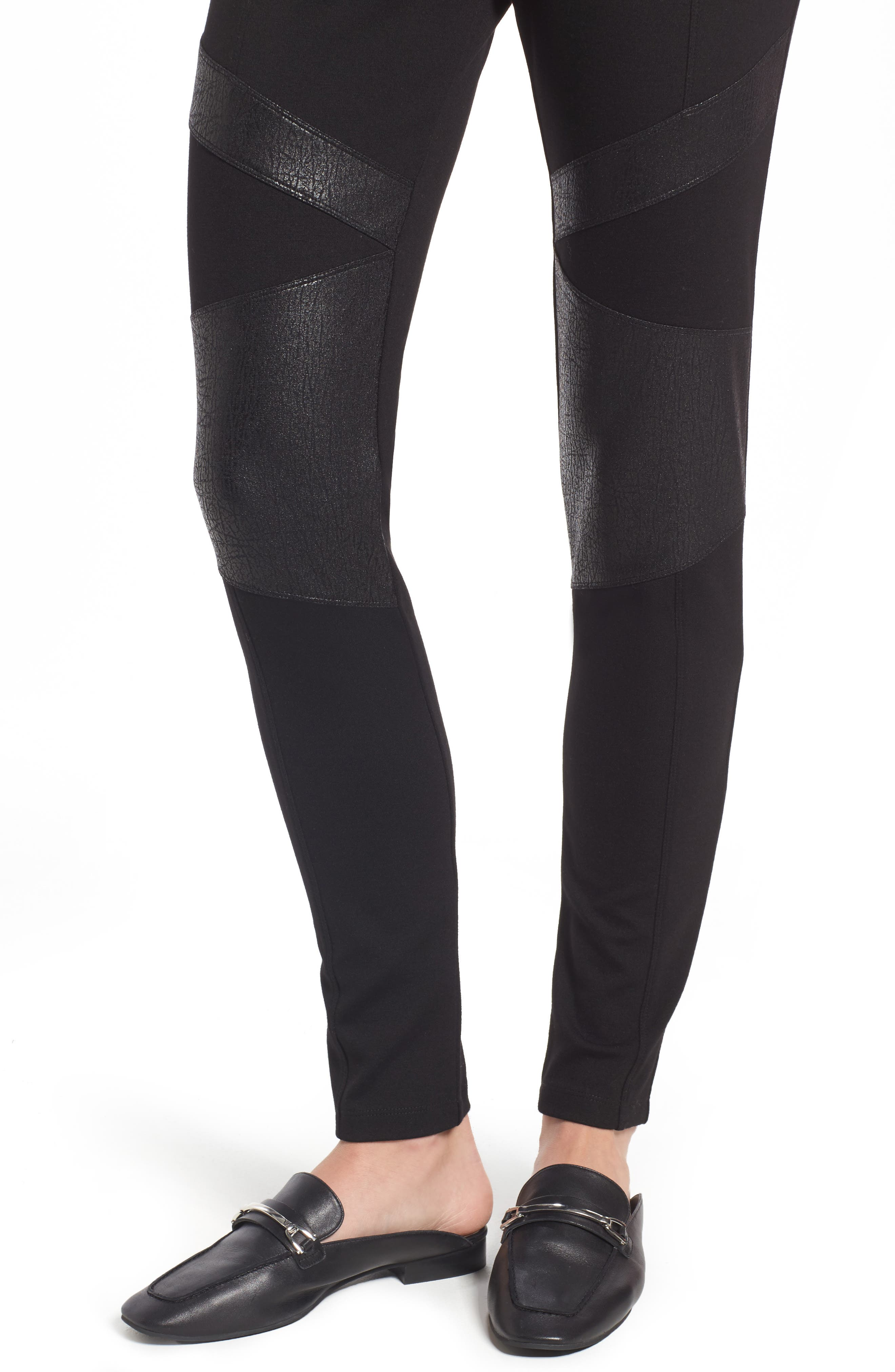 Alternate Image 4  - Two by Vince Camuto Lacquer Inset Moto Leggings (Regular & Petite)