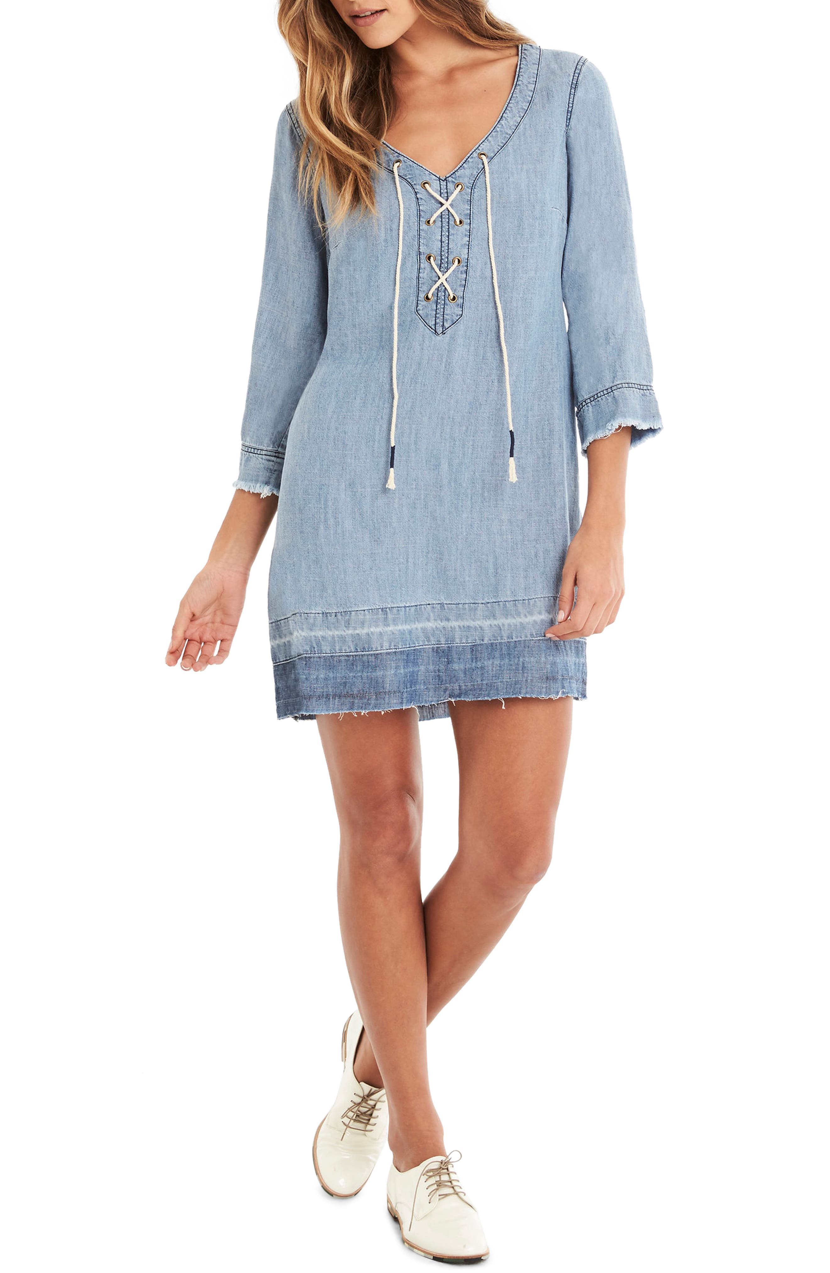 Michael Stars Raw Hem Lace-Up Shift Dress