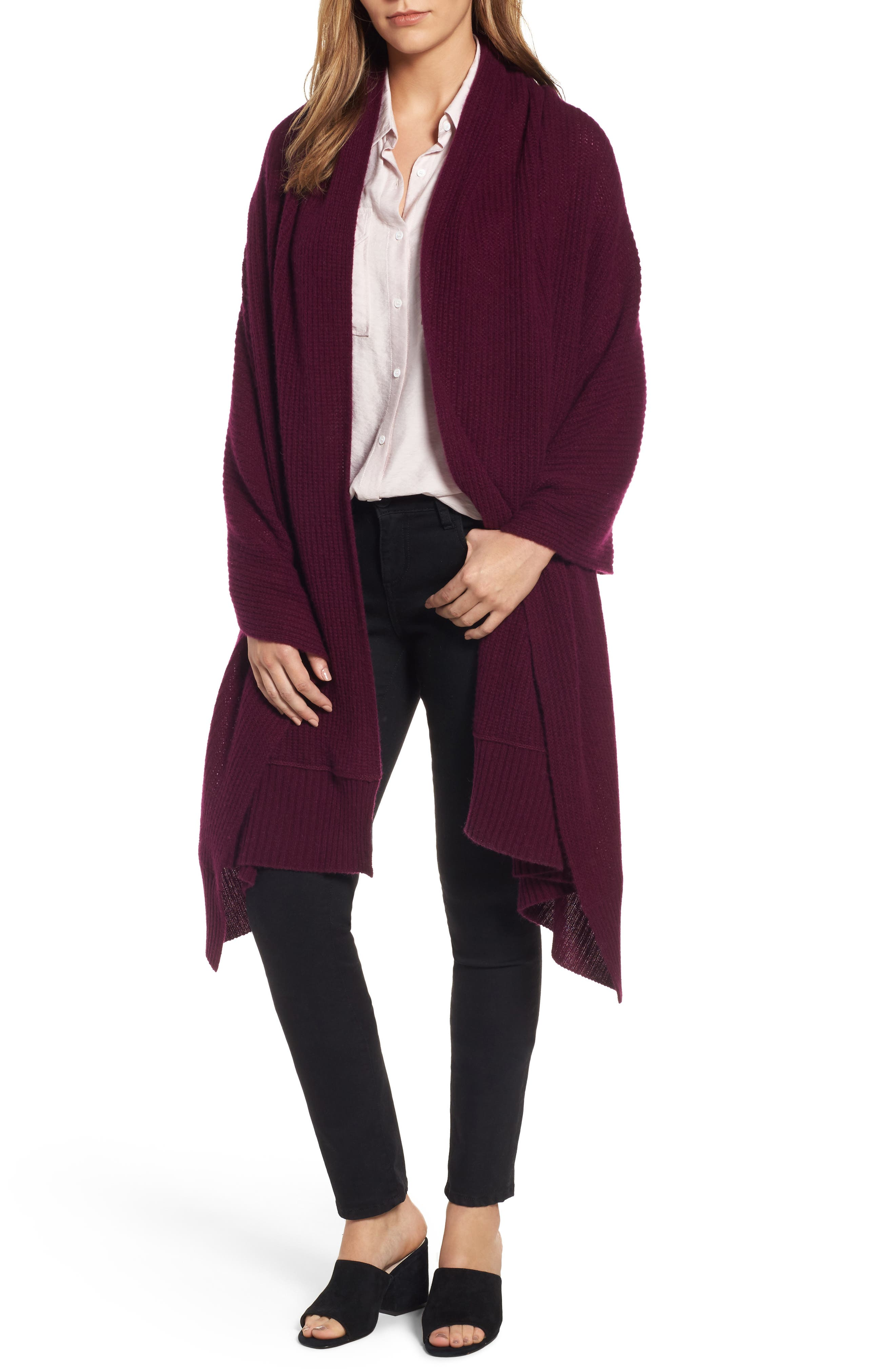 Halogen® Cardigan Stitch Cashmere Wrap