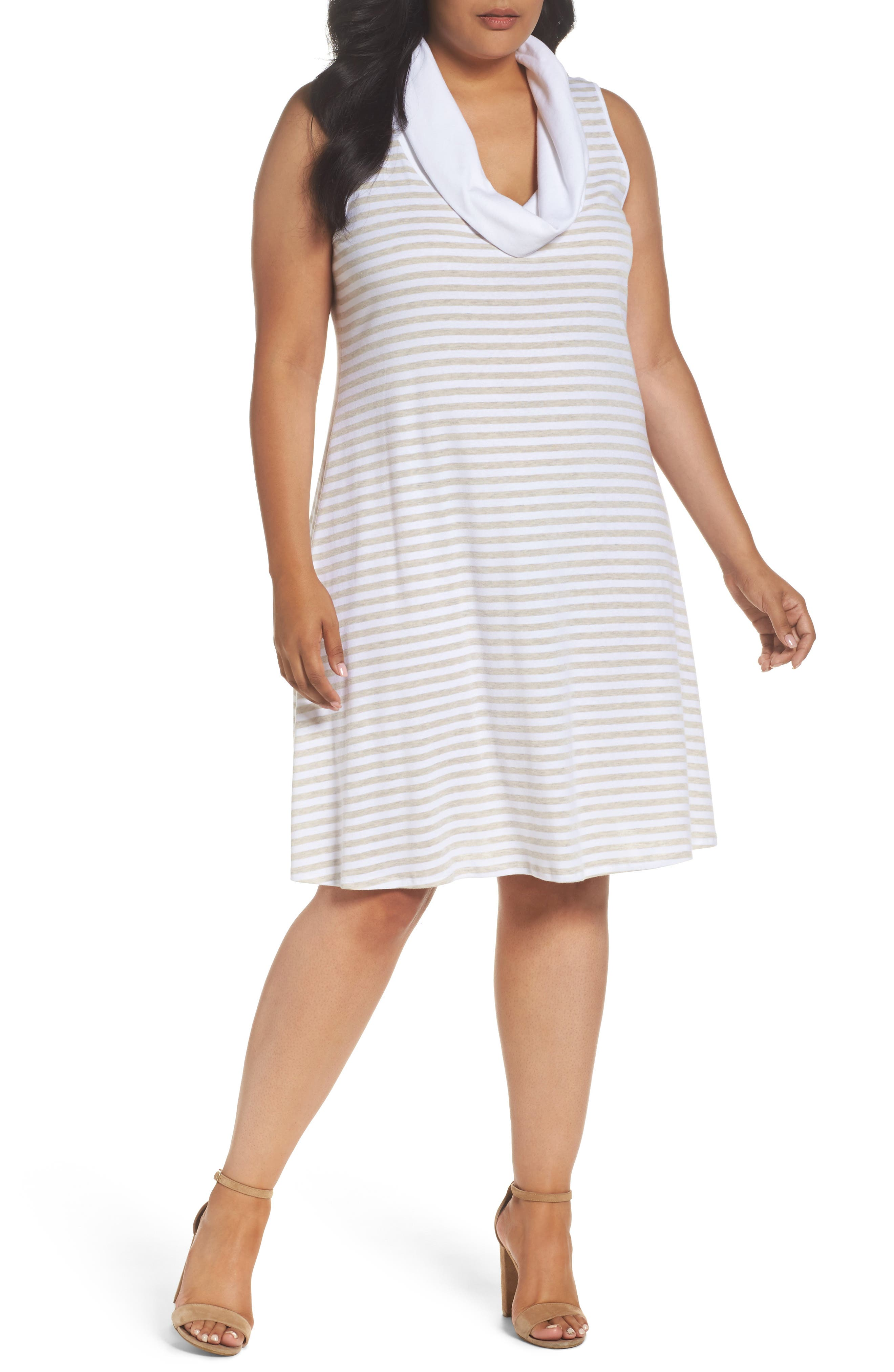 Three Dots Striped A-Line Dress (Plus Size)