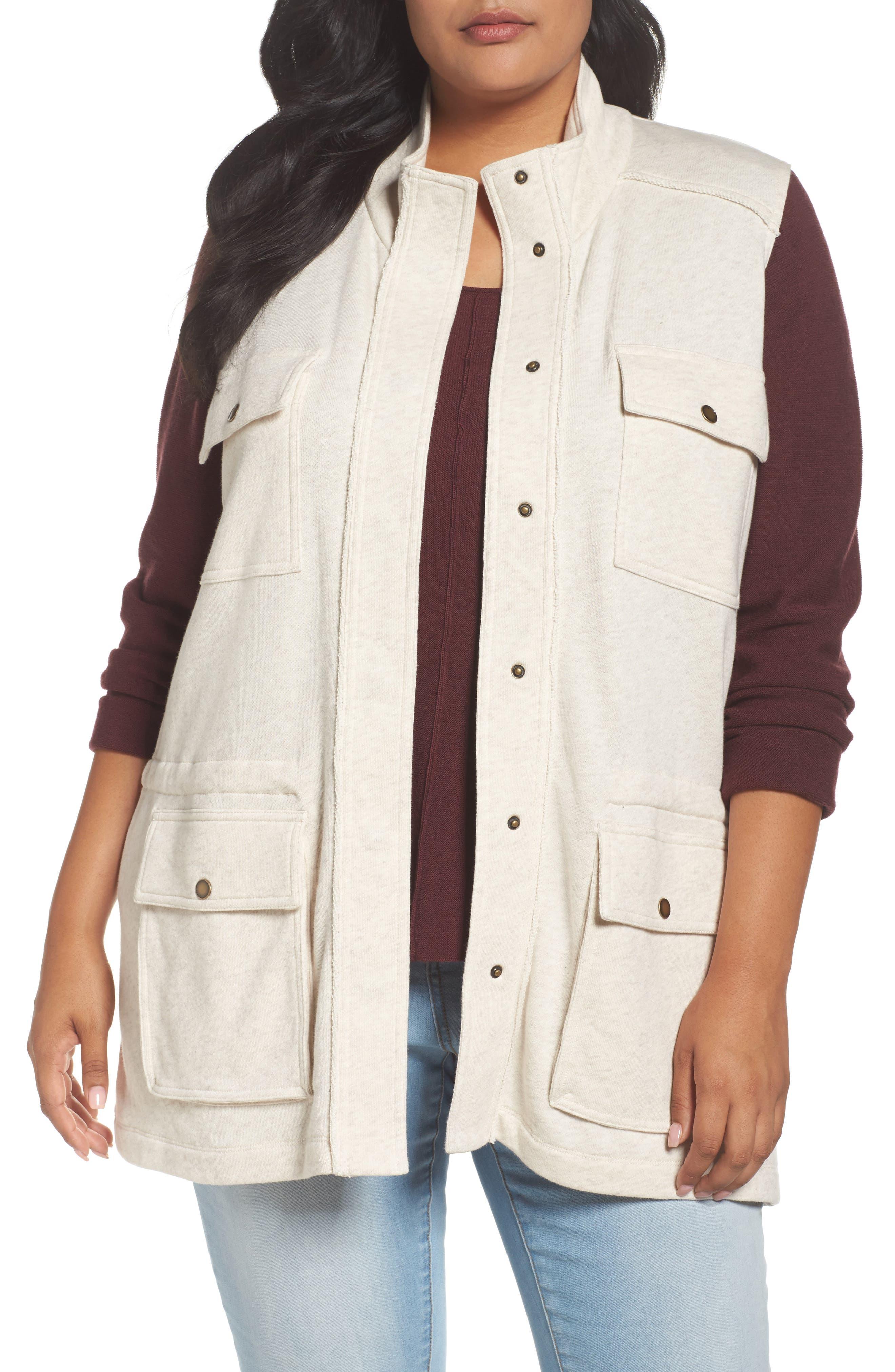 Caslon® Sweatshirt Vest (Plus Size)