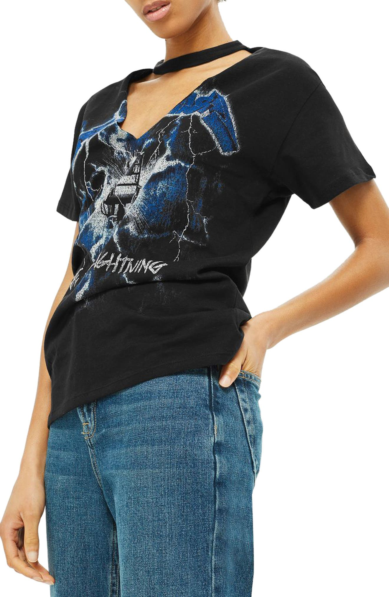 Topshop by And Finally Metallica Lightning Choker Tee