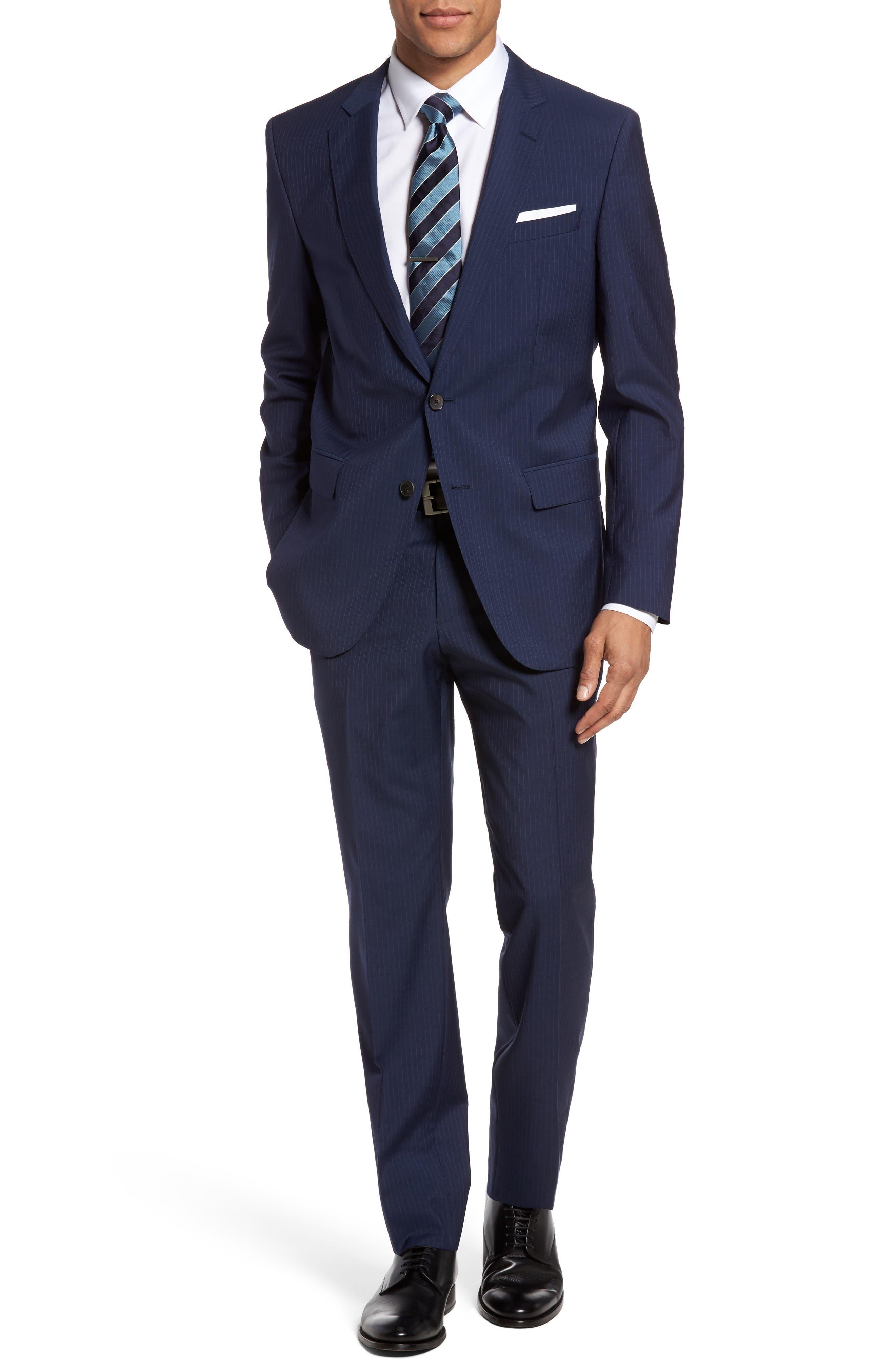 BOSS Huge/Genius 4 Trim Fit Stripe Wool Suit
