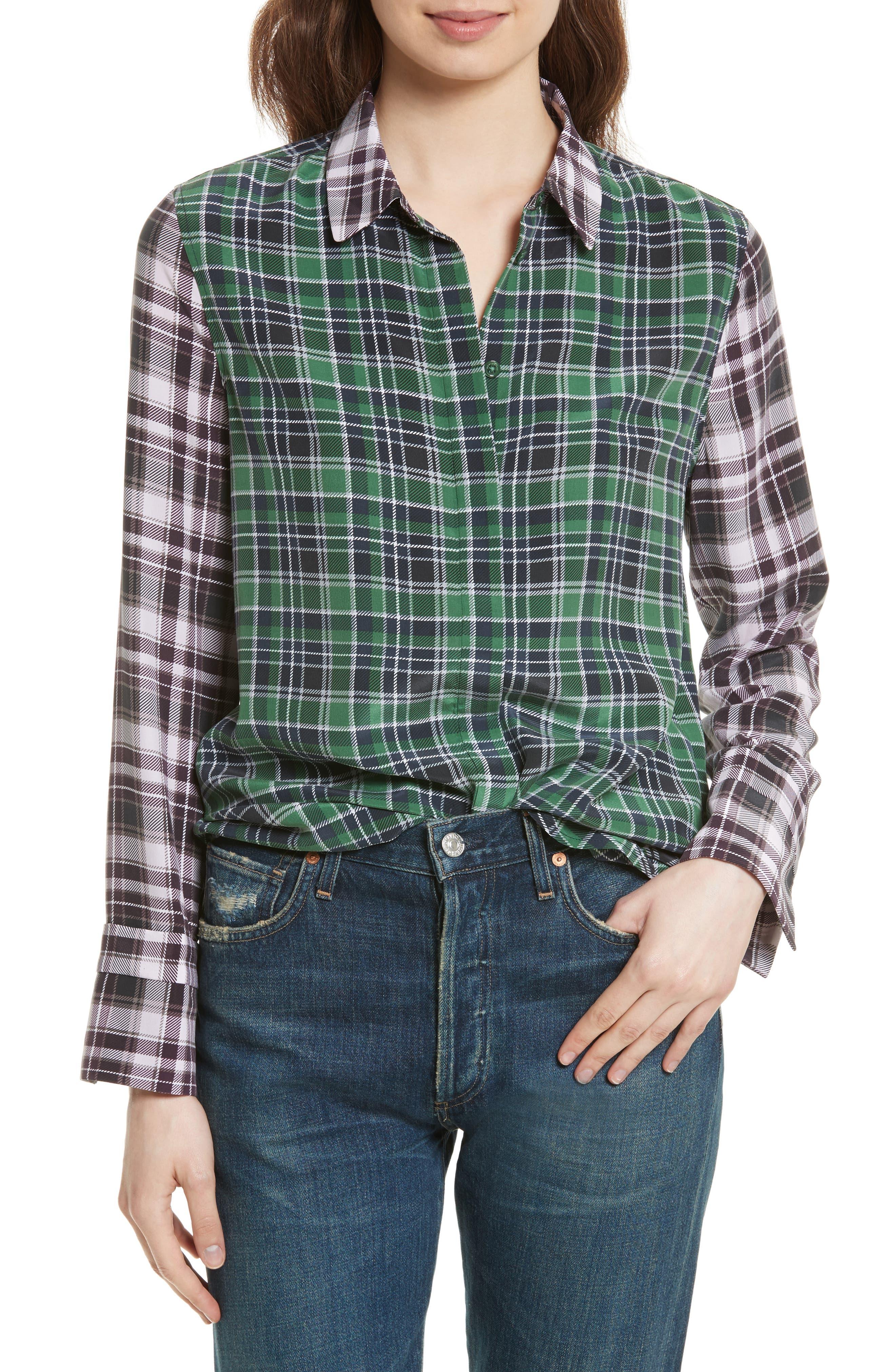 Equipment Holly Colorblock Plaid Silk Shirt