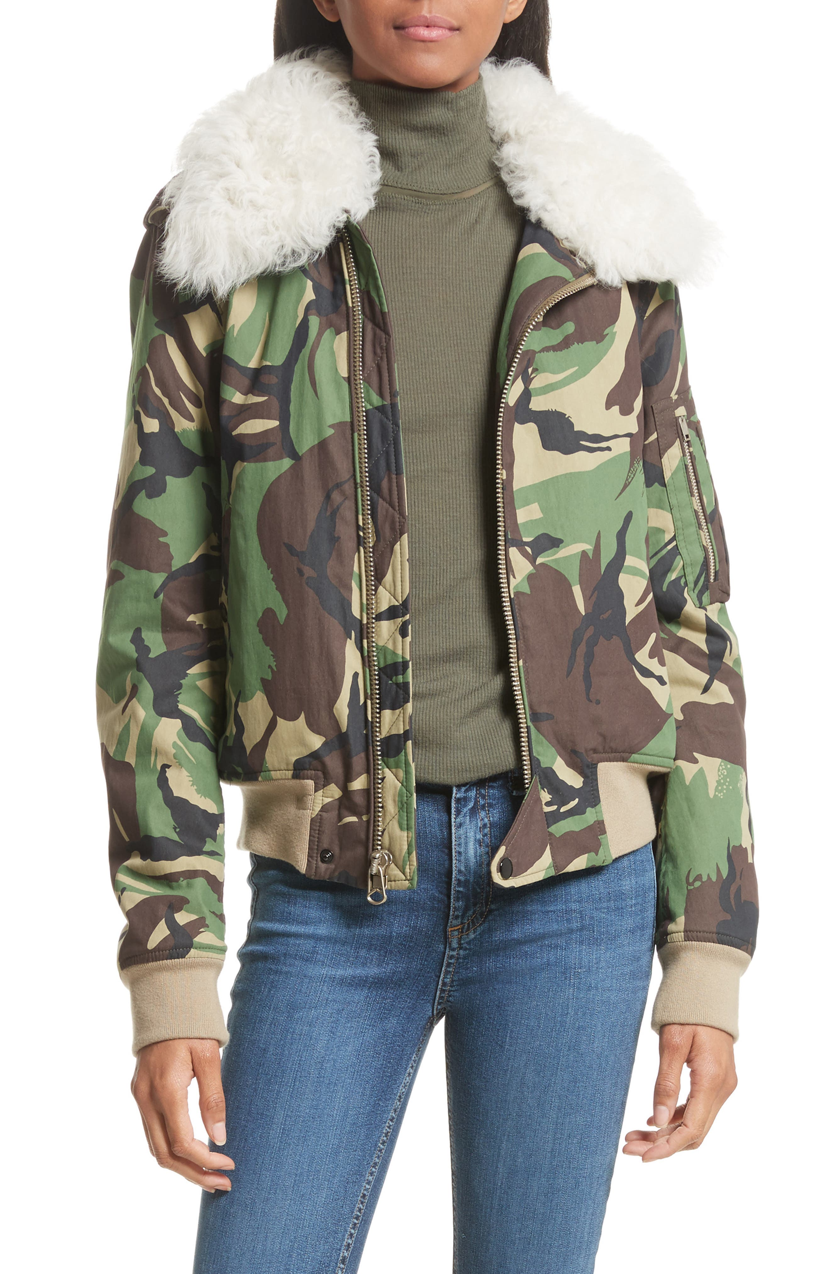 rag & bone Camo Flight Jacket with Geniune Shearling Collar