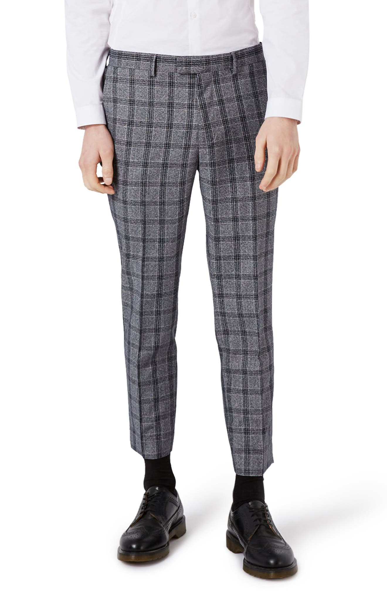 Topman Skinny Fit Plaid Crop Suit Trousers