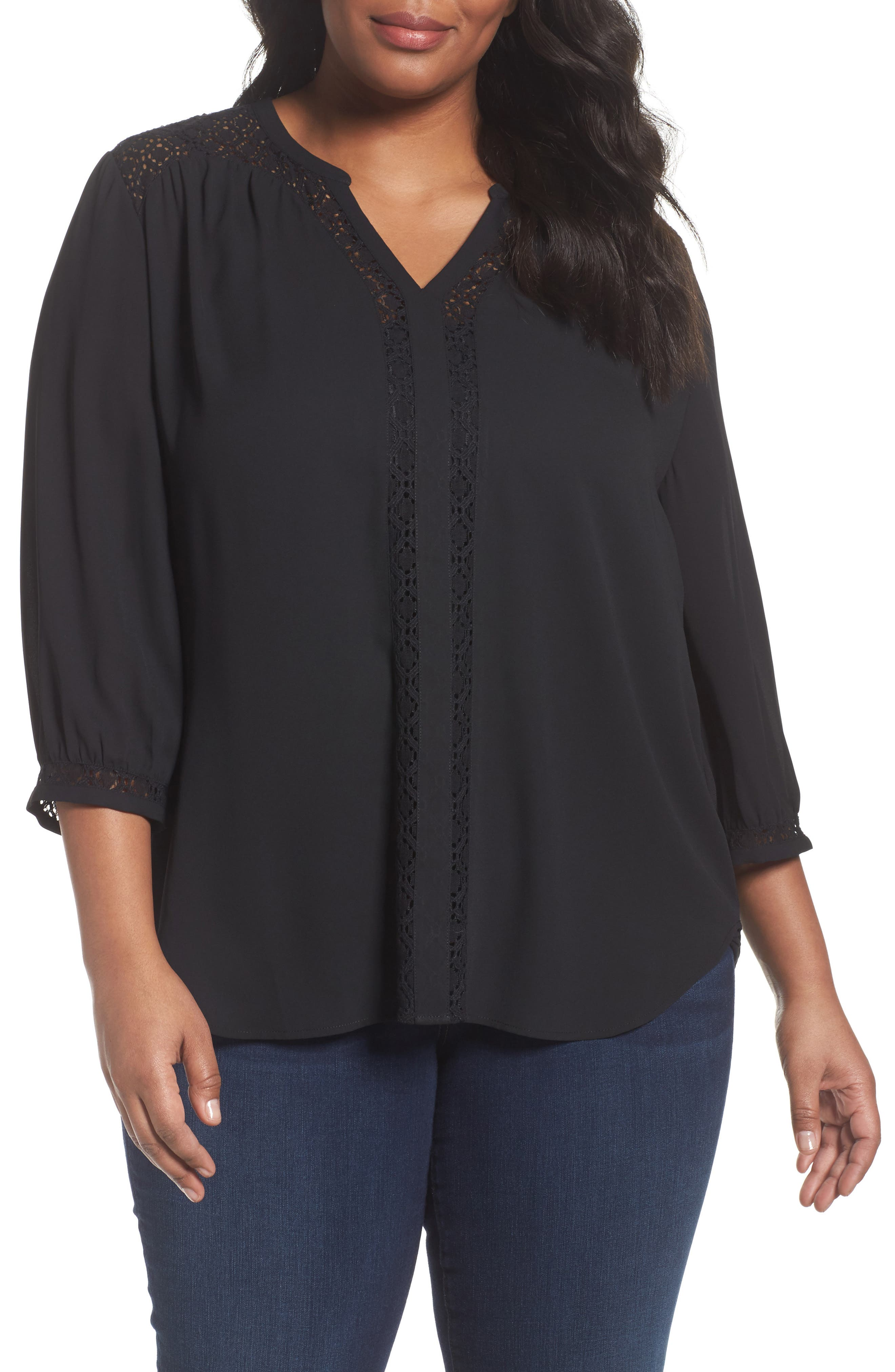 Sejour Lace Inset Split Neck Blouse (Plus Size)