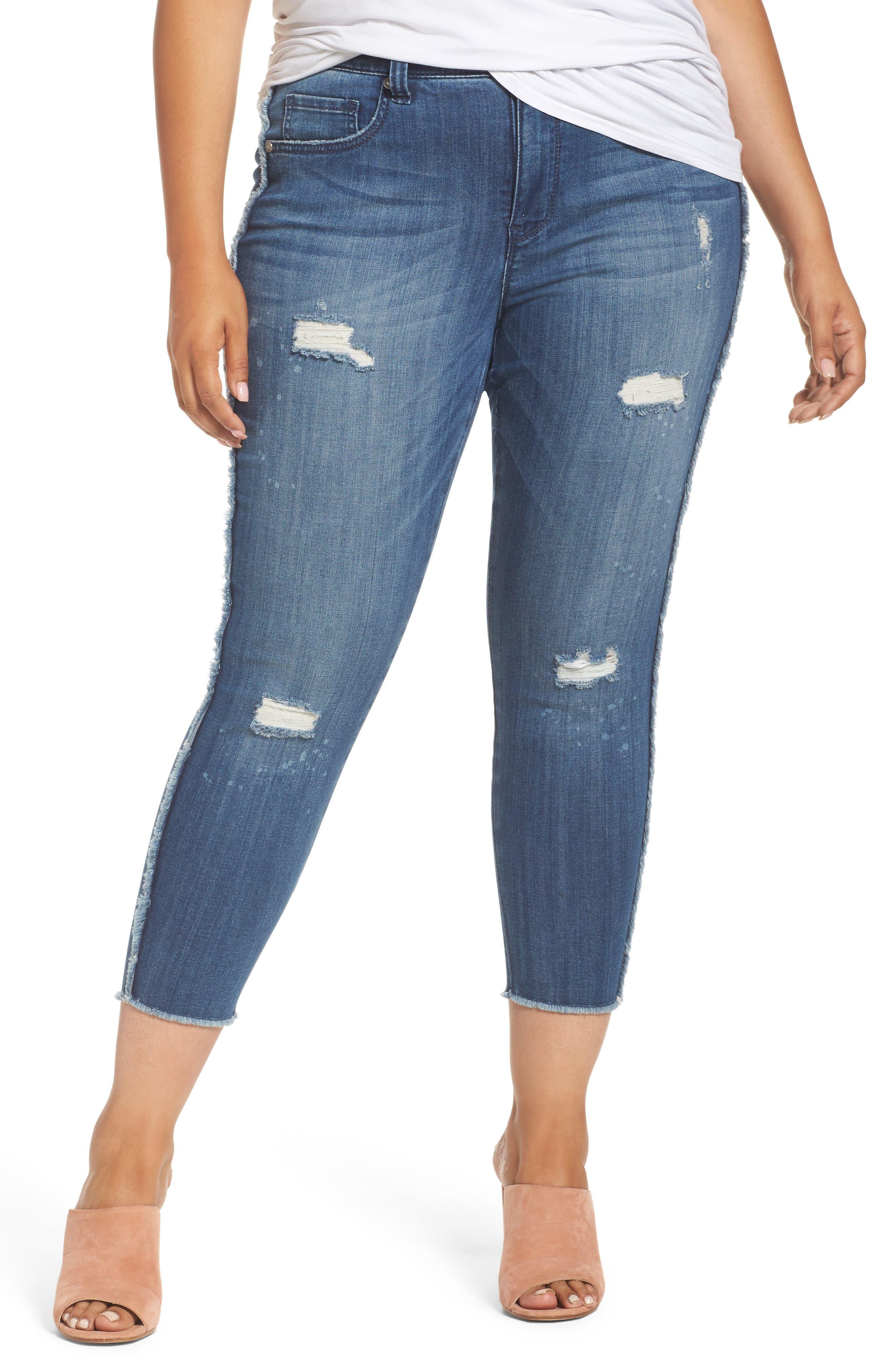 Melissa McCarthy Seven7 Frayed Ankle Pencil Jeans (Destiny) (Plus Size)