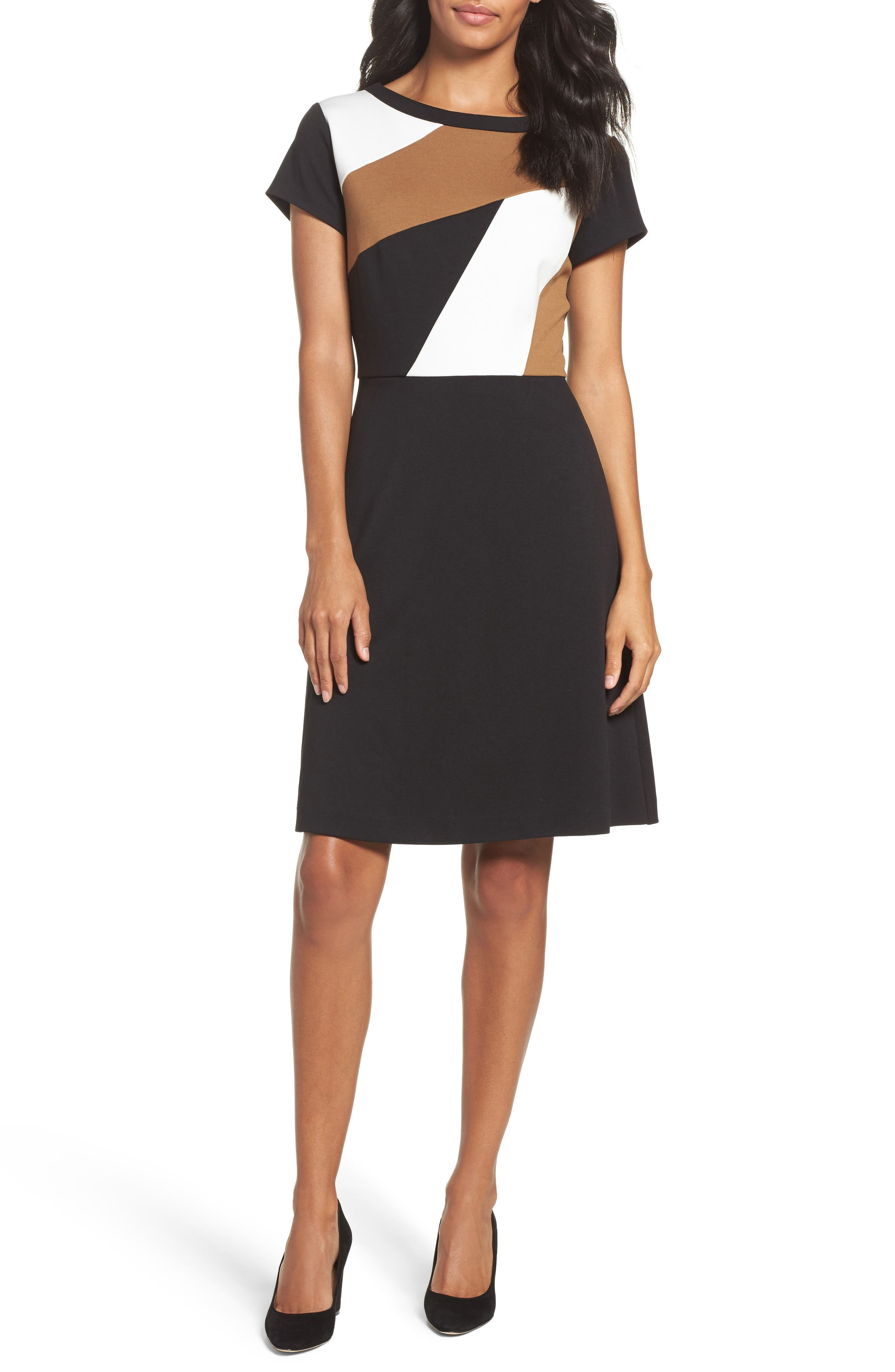 Ellen Tracy Colorblock Fit & Flare Dress (Regular & Petite)
