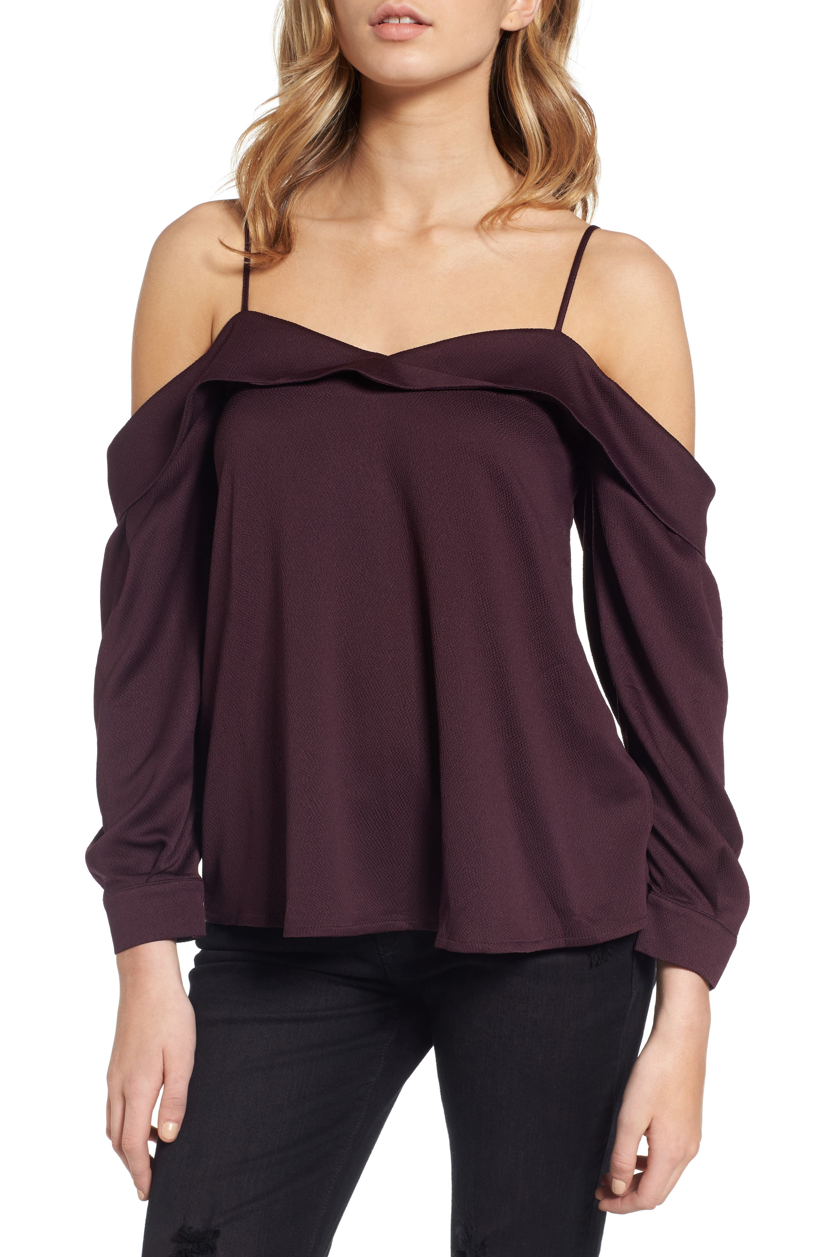 Leith Satin Off the Shoulder Top