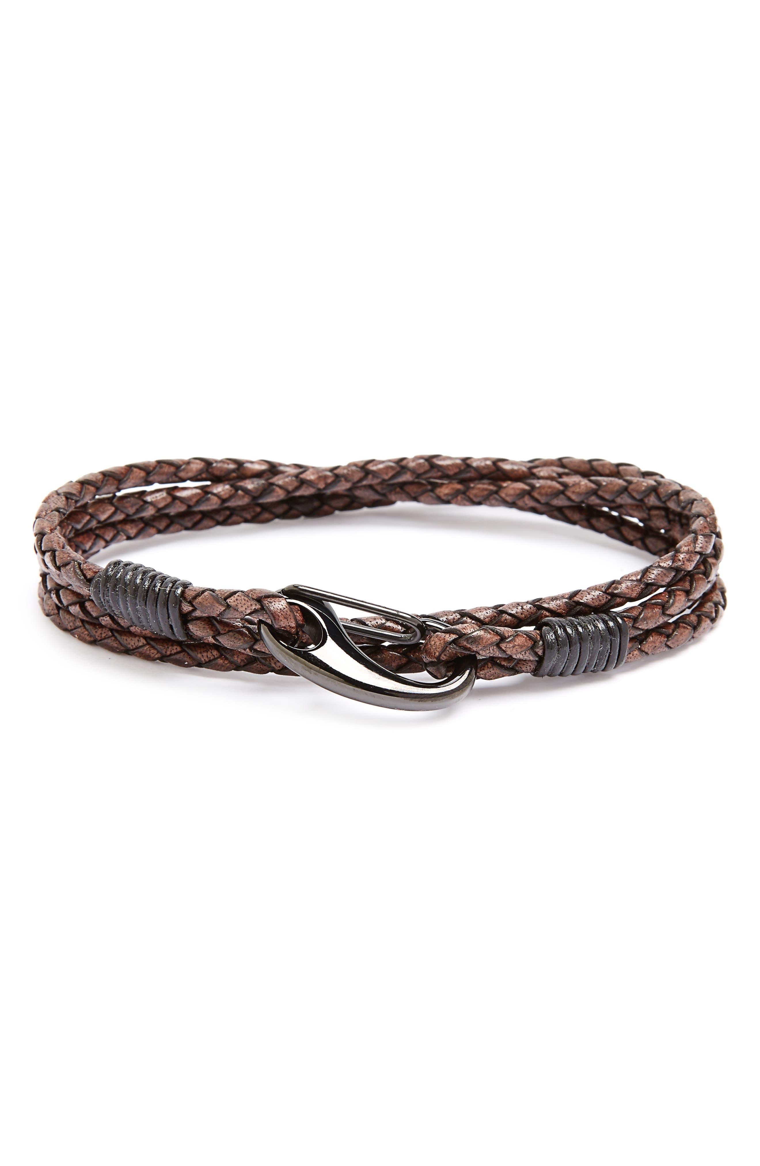 Link Up Leather Wrap Bracelet
