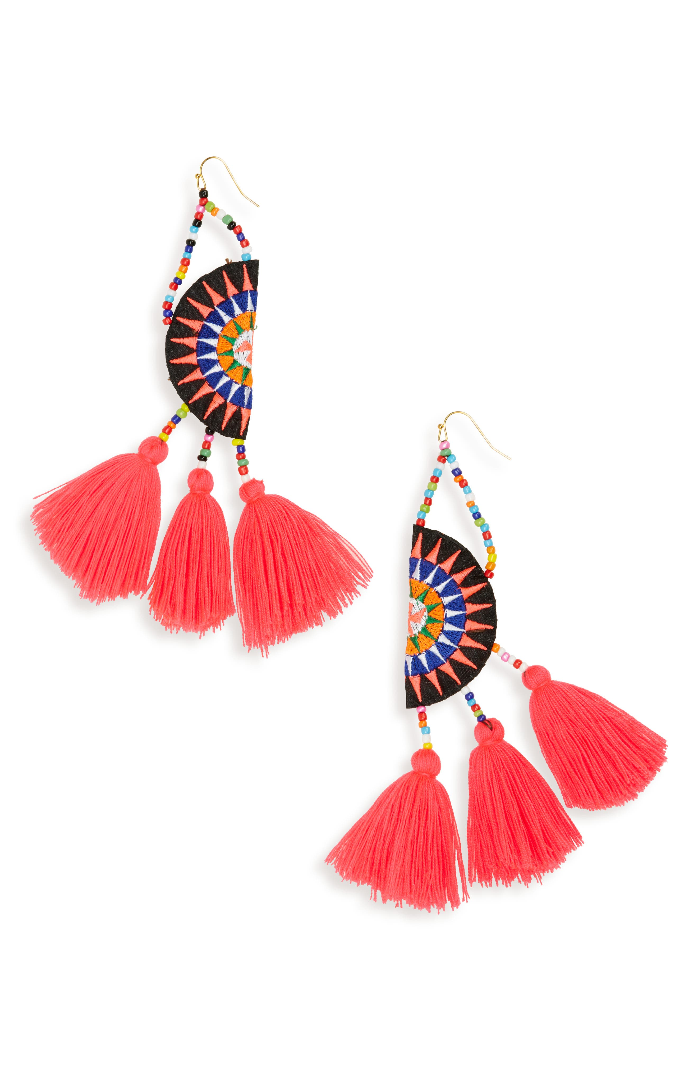 Panacea Tassel Embroidered Earrings