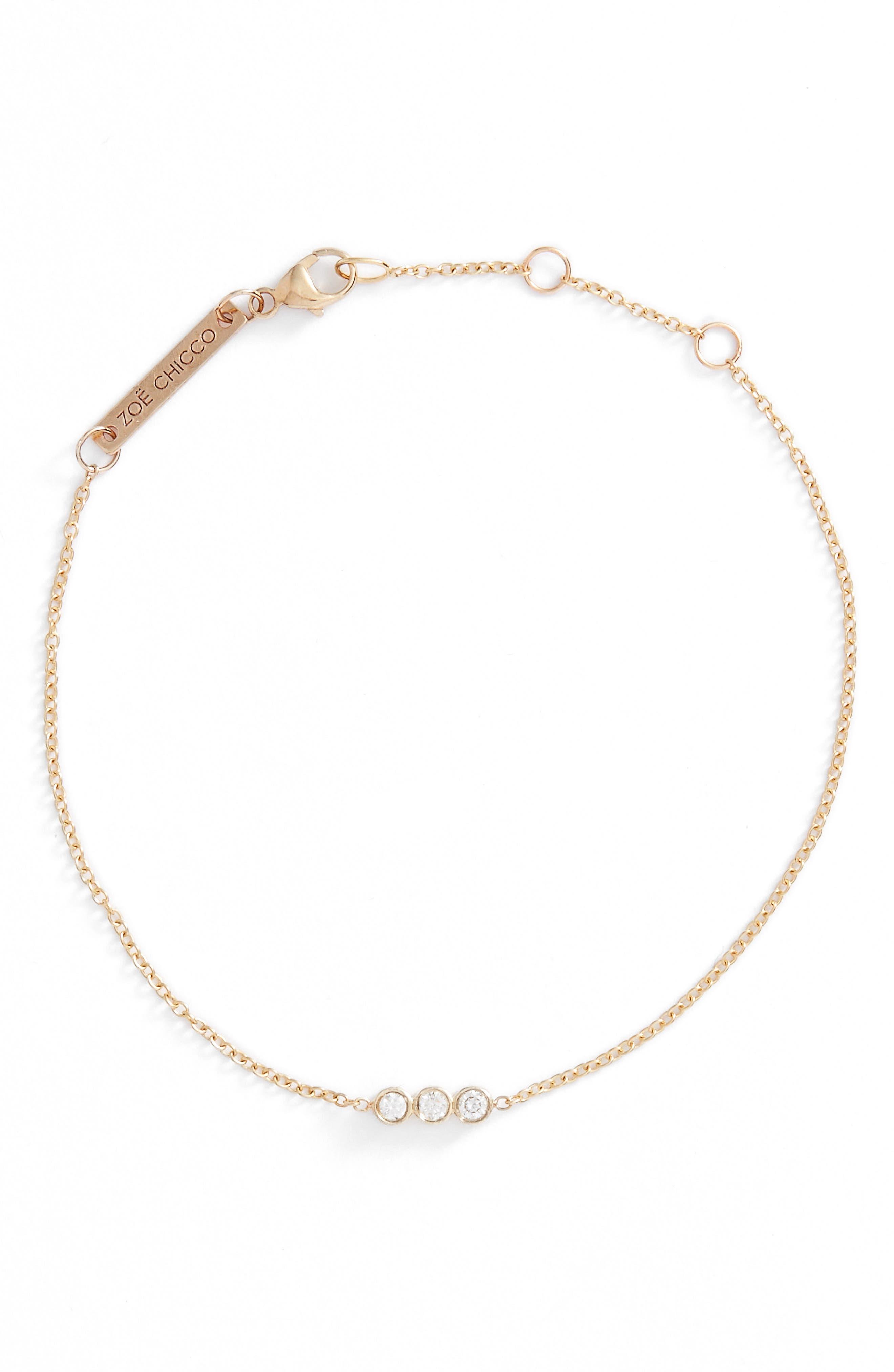 Zoë Chicco Diamond Bezel Bar Line Bracelet