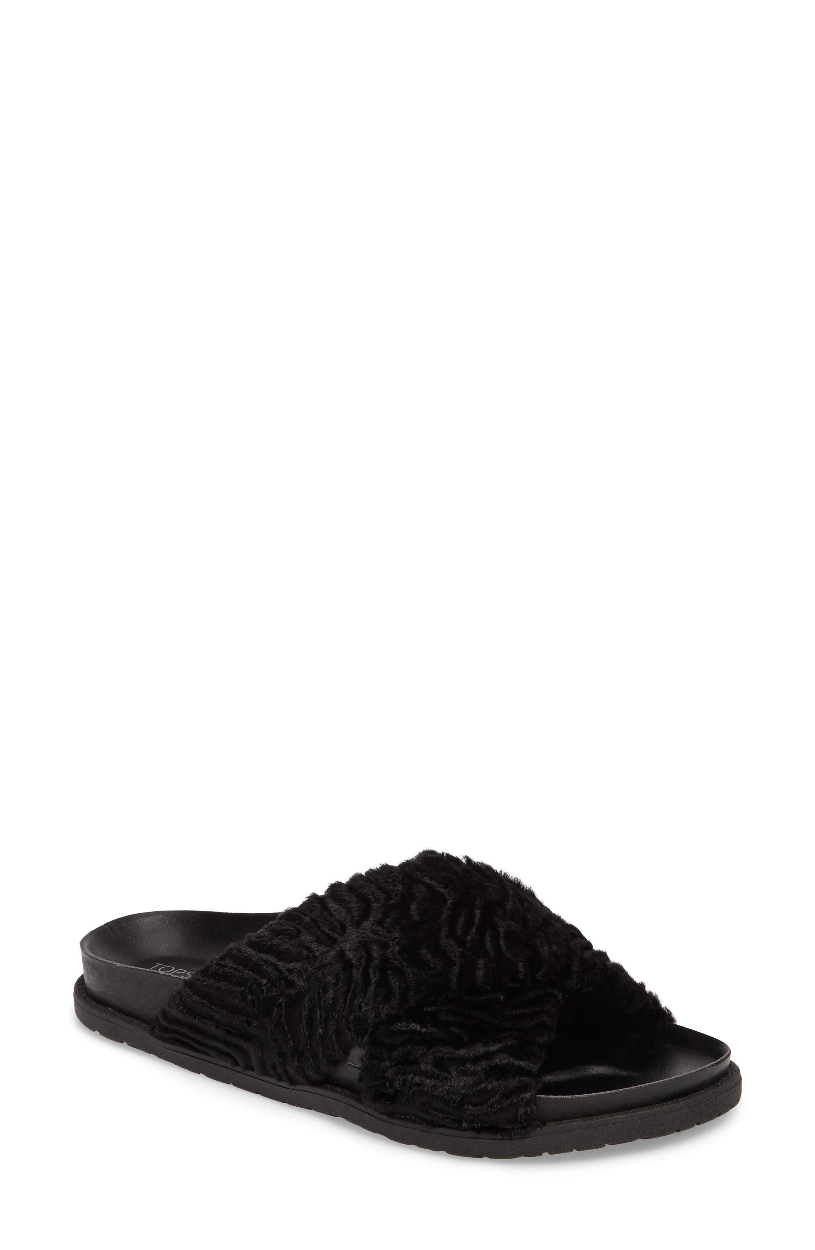 Topshop Harissa Textured Faux Fur Slide Sandal (Women)