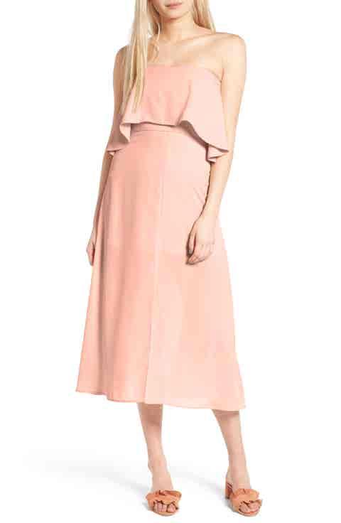 Charles Henry Strapless Popover Midi Dress