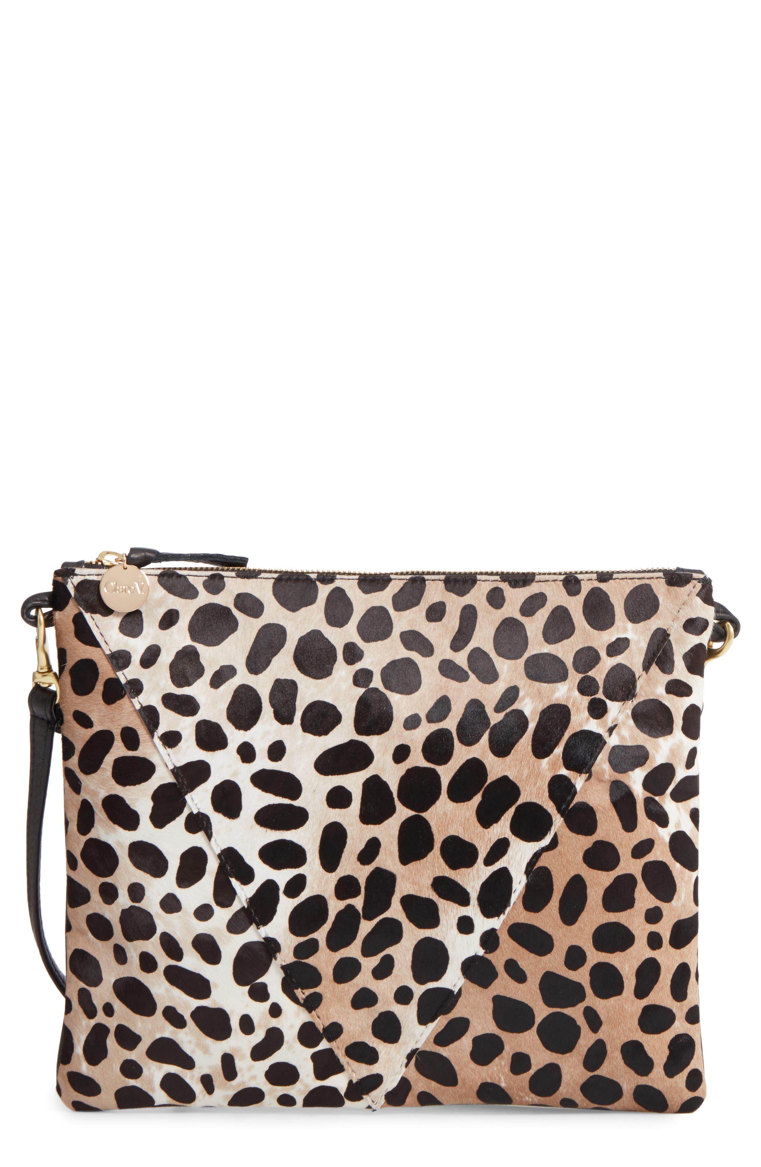 Clare V. Leopard Print Genuine Calf Hair Crossbody Bag