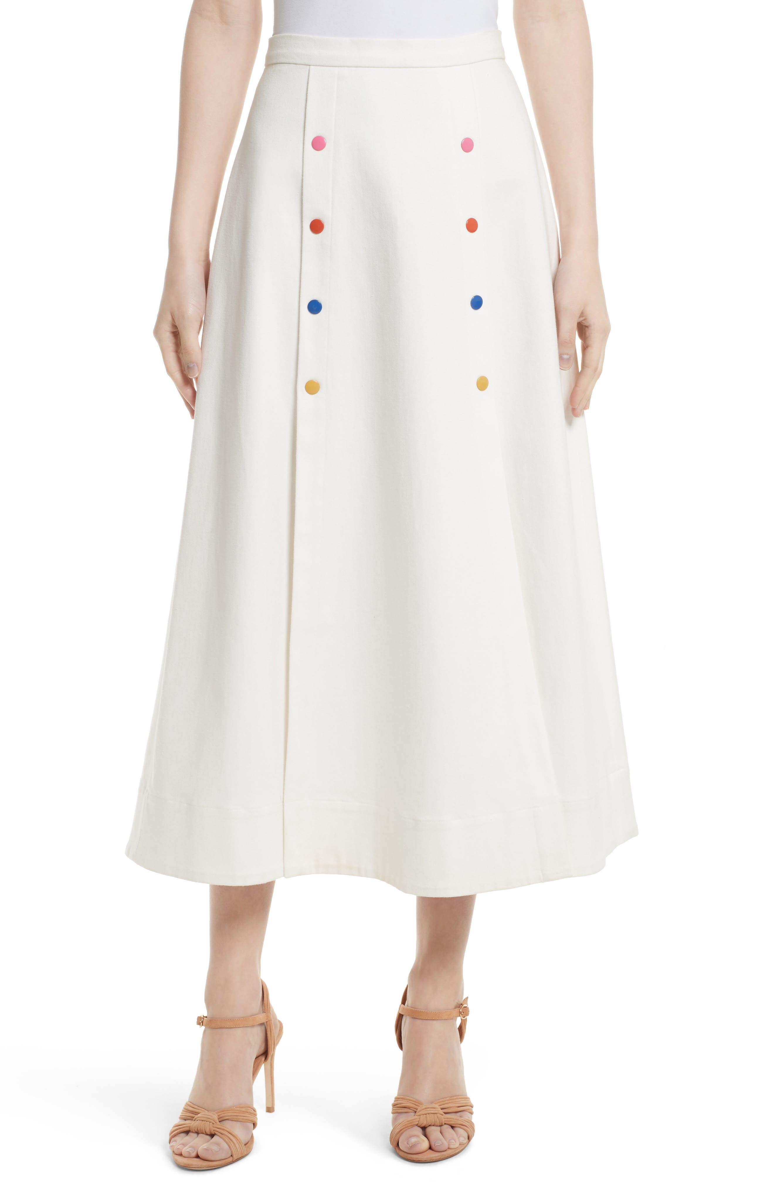 SALONI Candy Stretch Cotton Midi Skirt