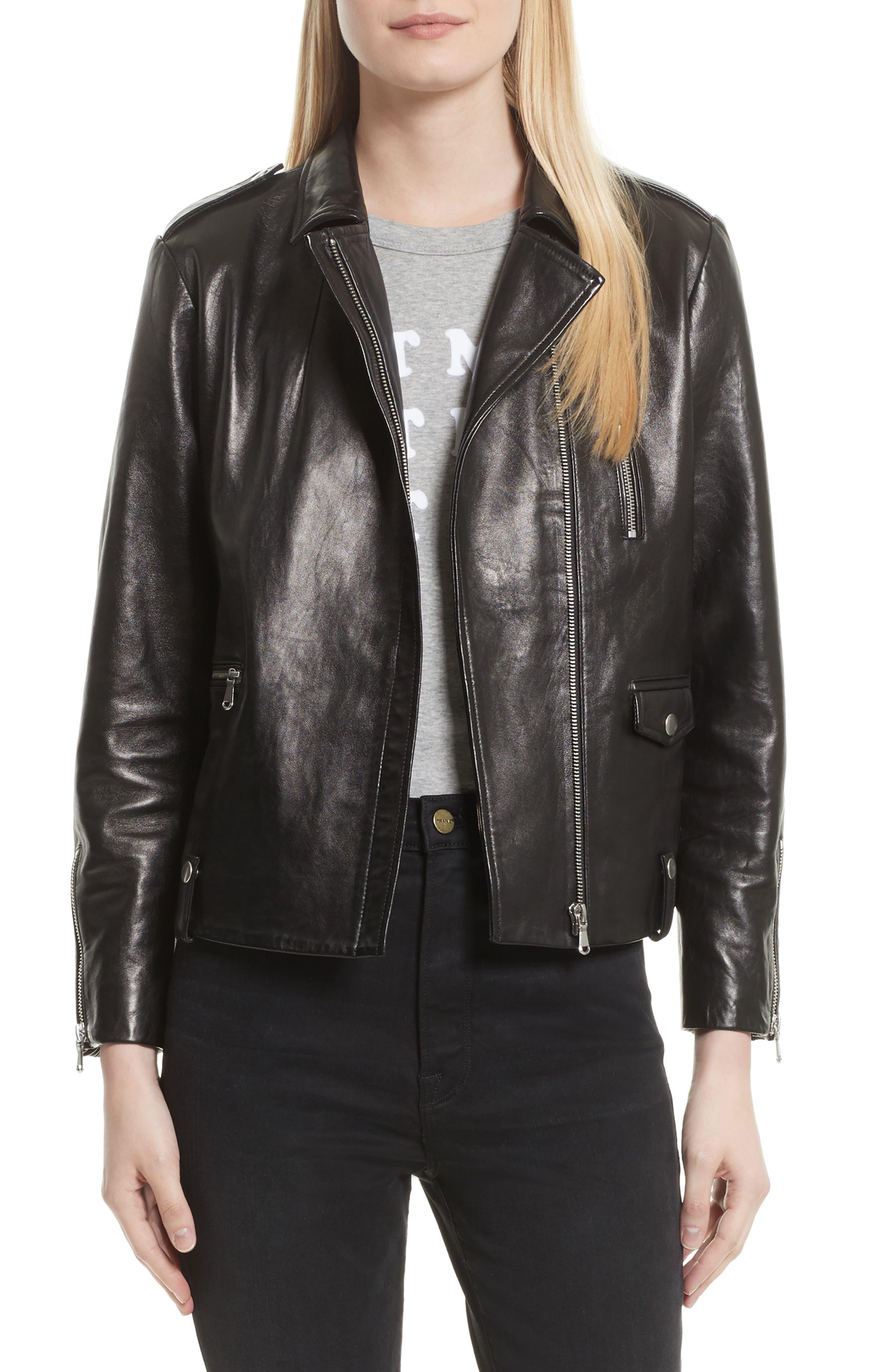FRAME Lambskin Leather Moto Jacket