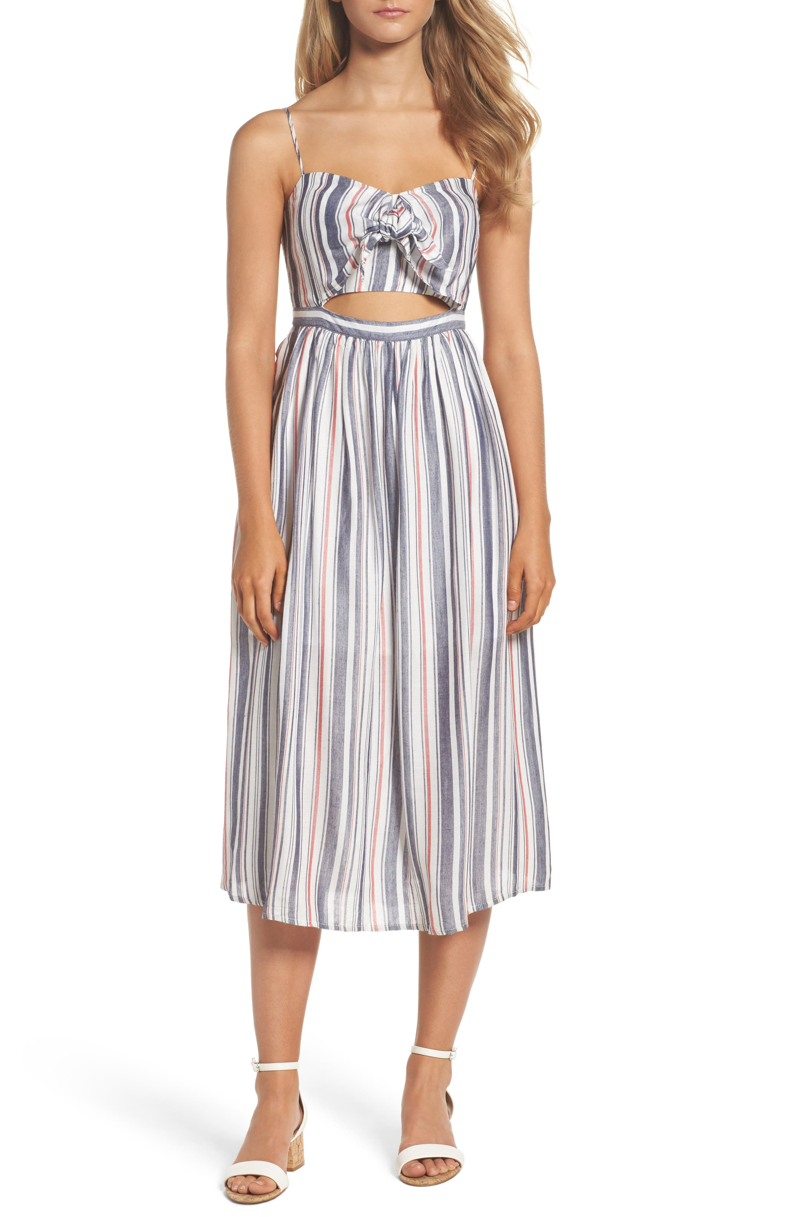 Bardot Tie Front Stripe Midi Dress