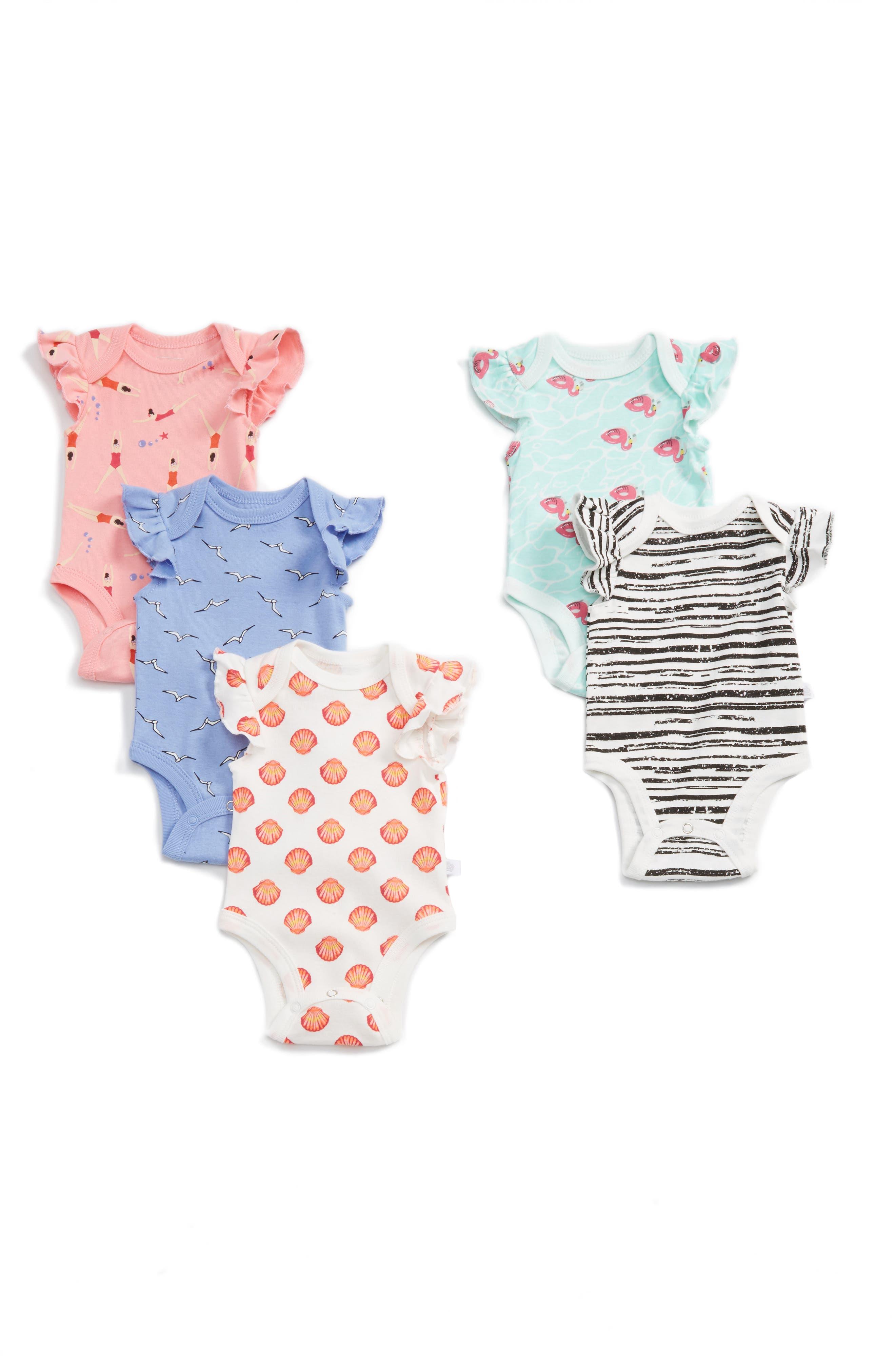 Rosie Pope 5-Pack Bodysuits (Baby Girls)