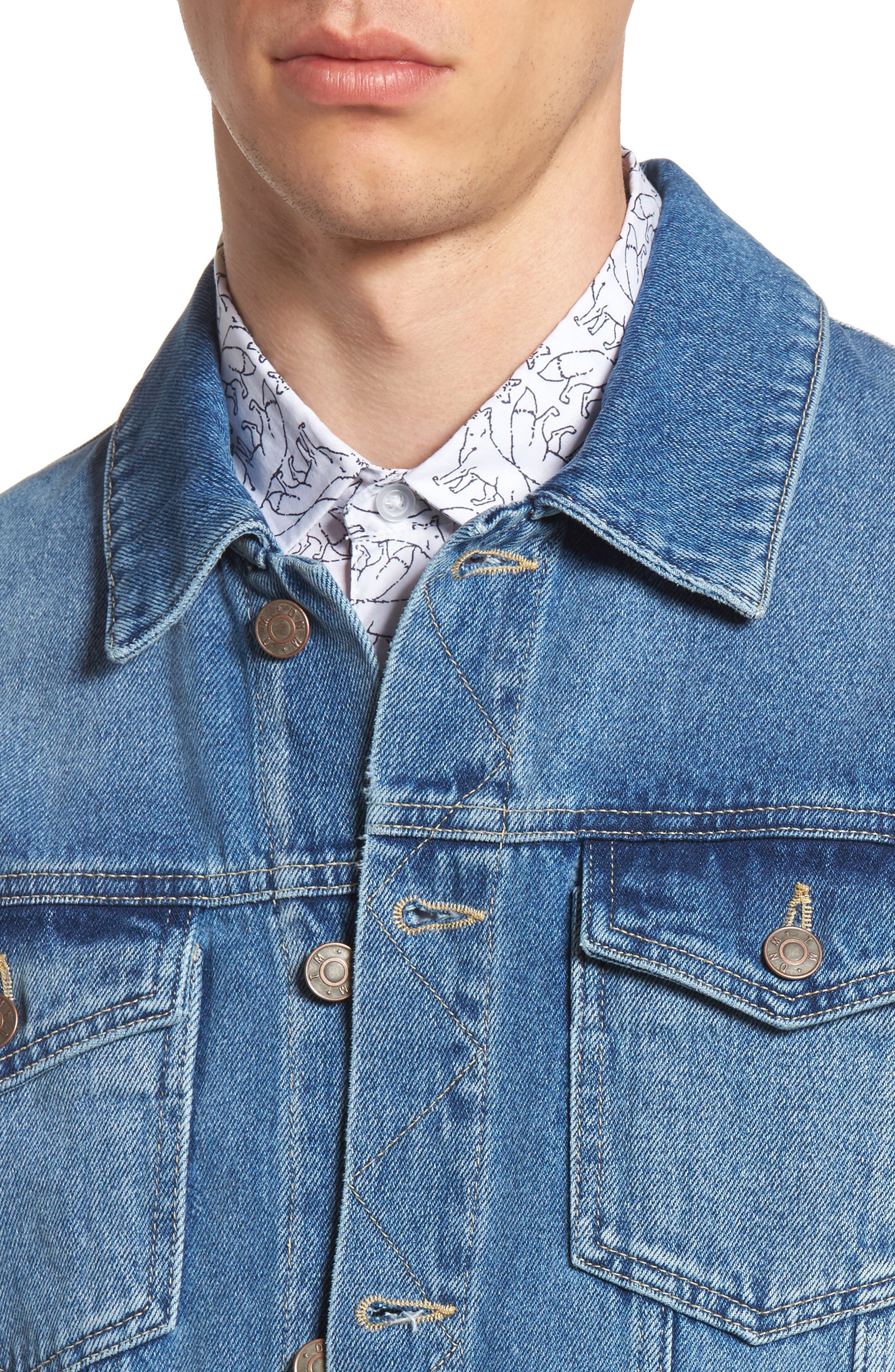 Alternate Image 5  - Topman Griffin Denim Jacket