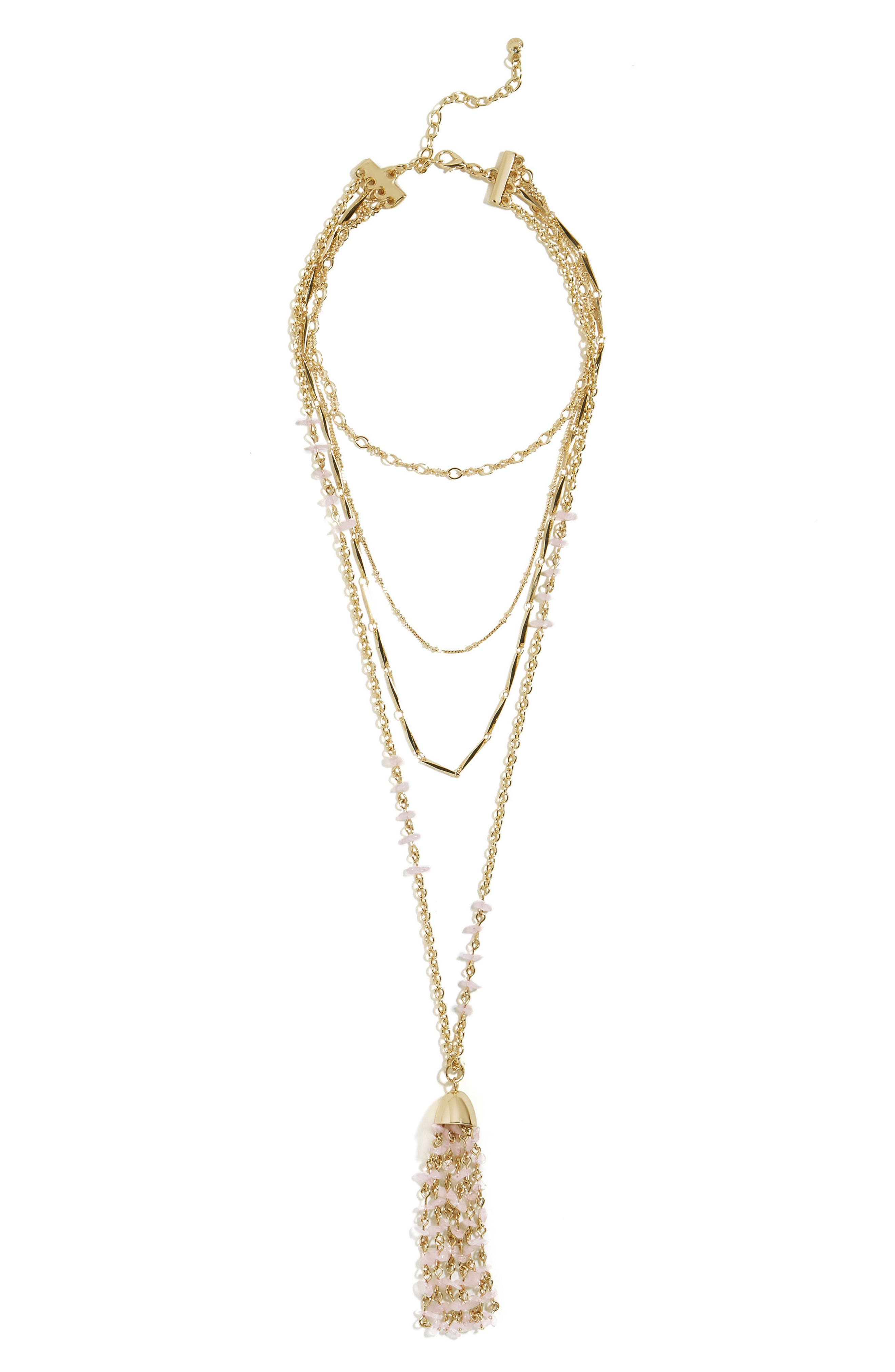 BaubleBar Quartz Tassel Layered Necklace