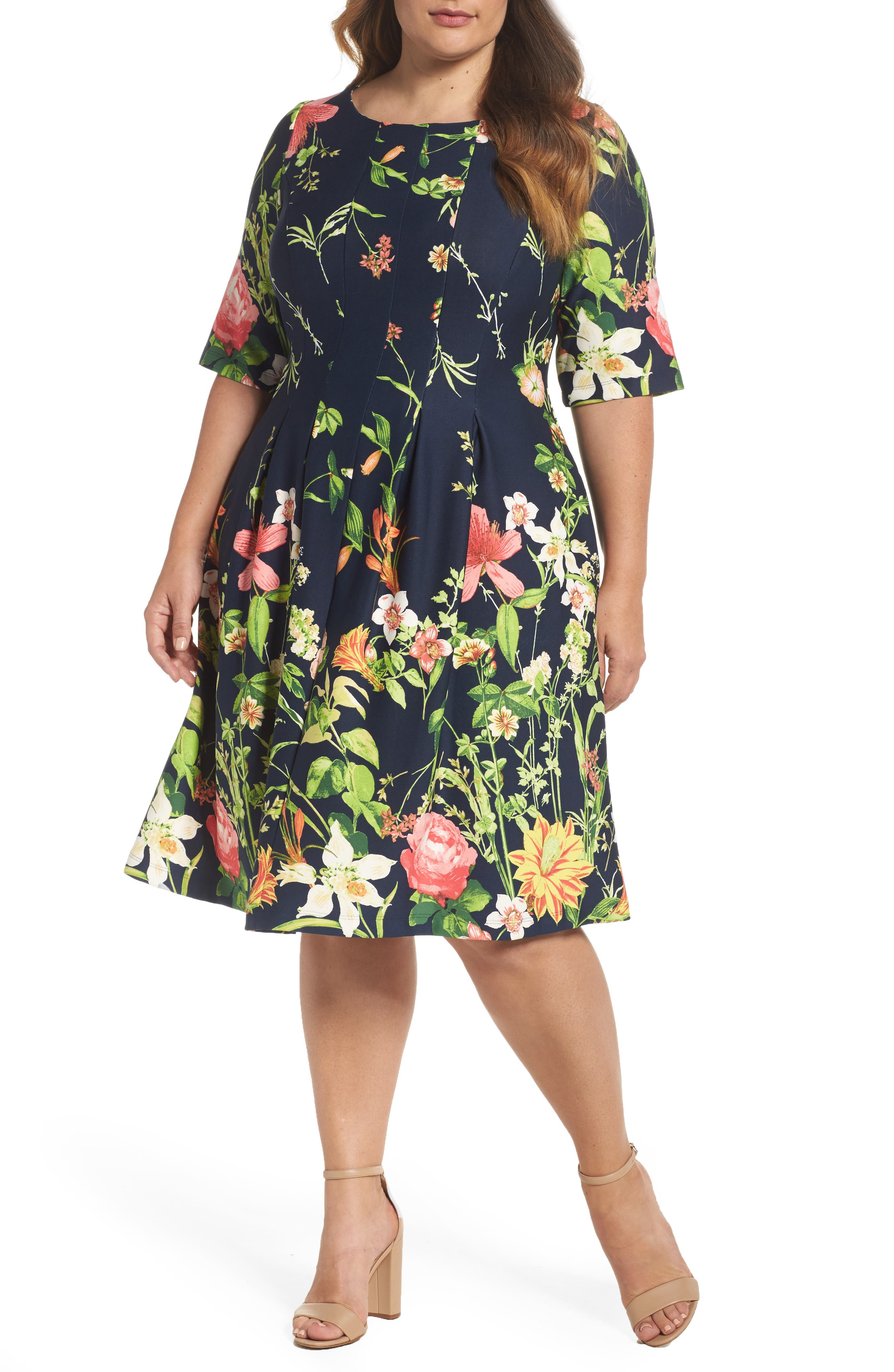 Gabby Skye Floral Scuba Fit & Flare Dress (Plus Size)