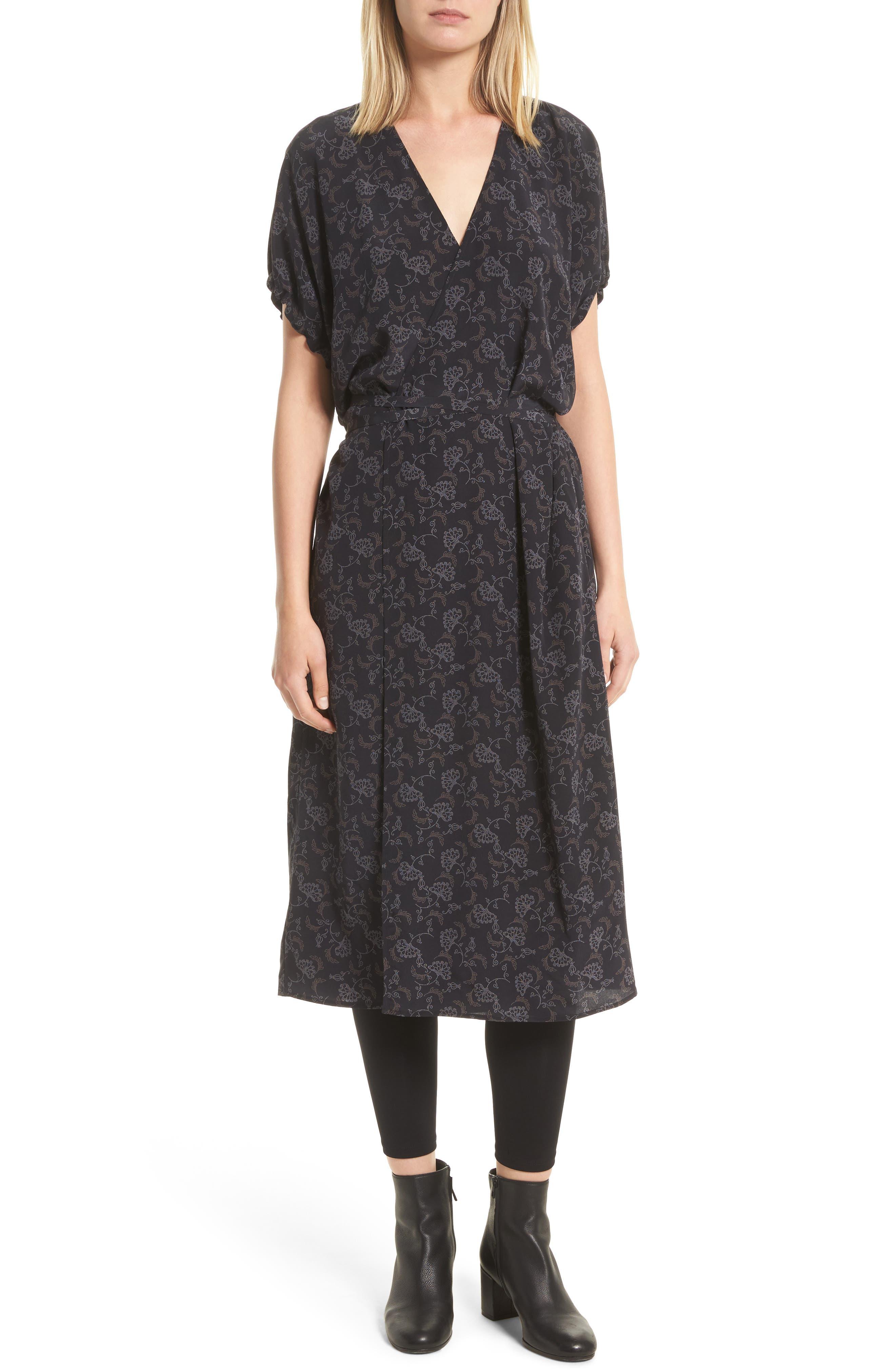 Vince Floral Dot Kimono Silk Wrap Dress