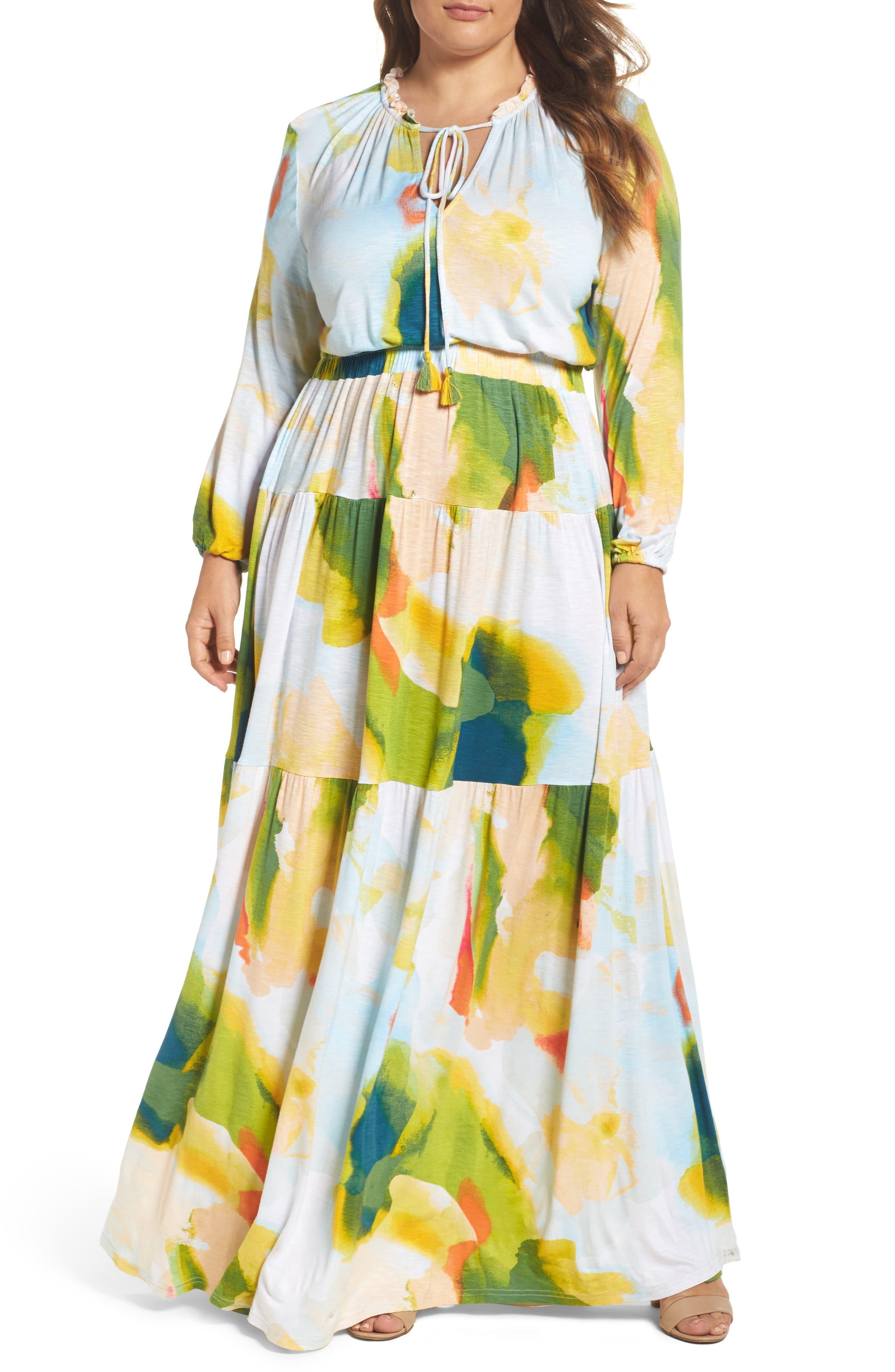 Melissa McCarthy Seven7 Print Tiered Maxi Dress (Plus Size)